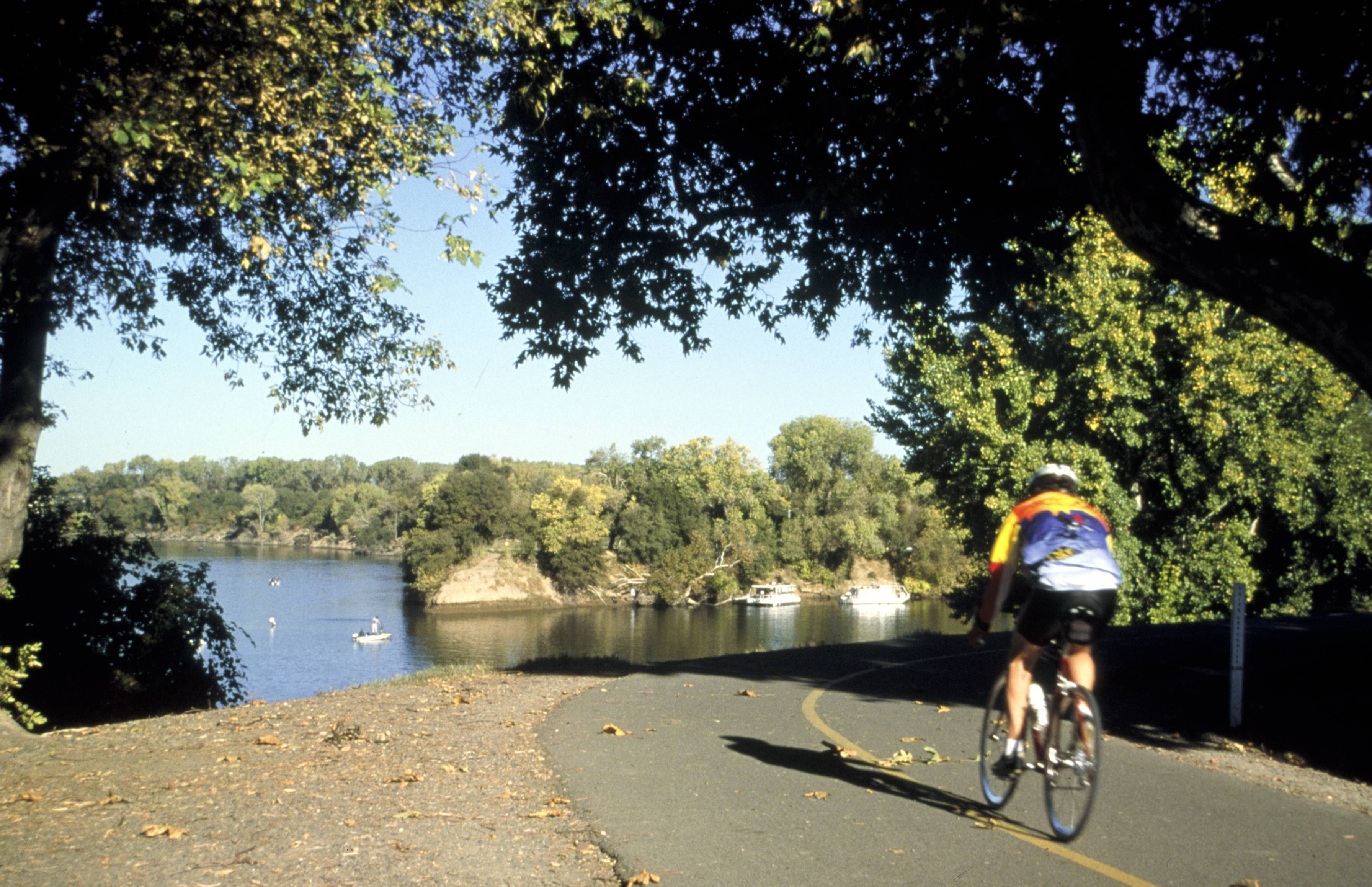 the American River Parkway in Sacramento, Calif., is great for cyclists, runners and hikers, with countless dirt trails along the river for horseback riding and mountain biking. It's one of many free things to see and do in Sacramento.
