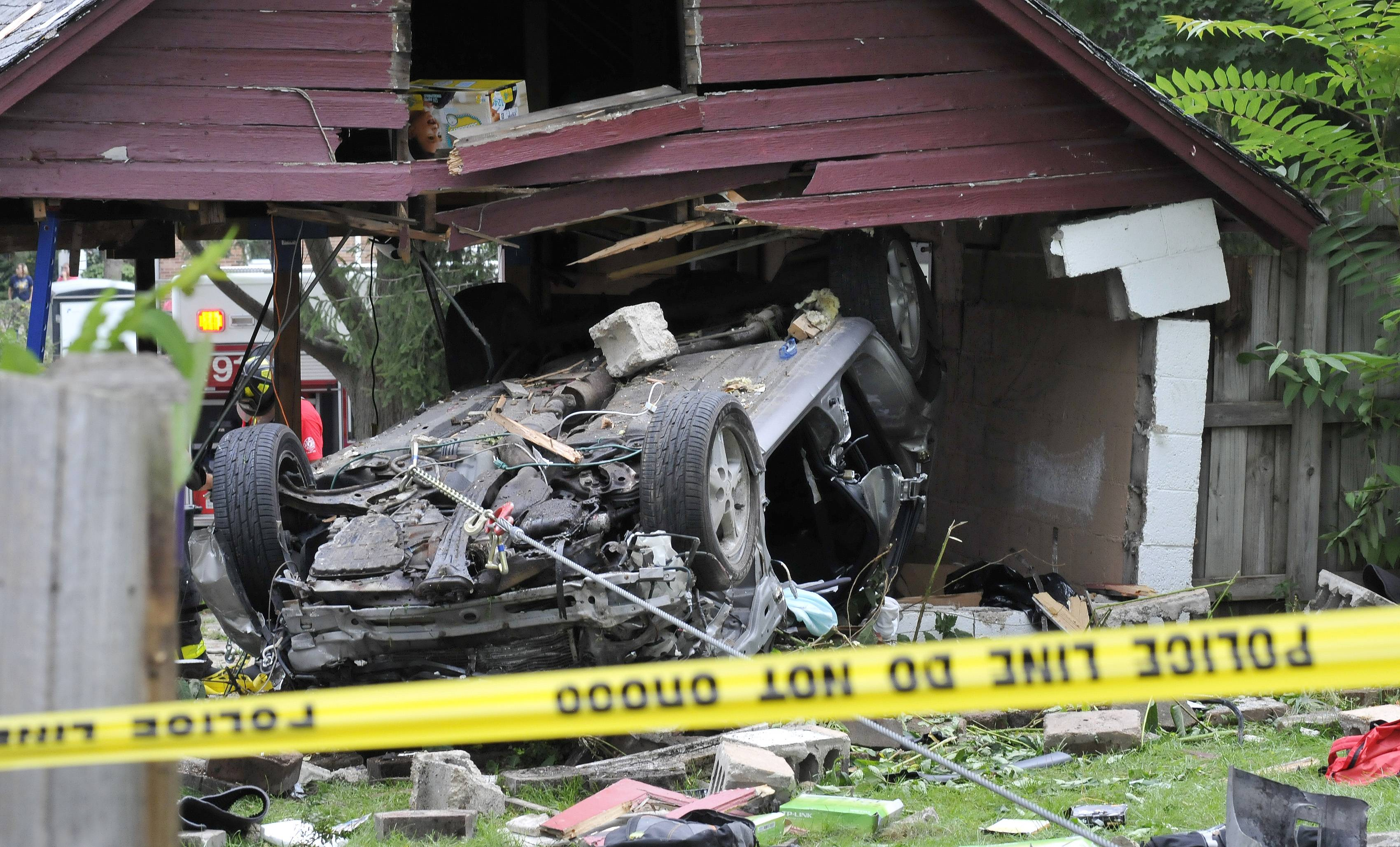 A car left the road Friday morning on the 400 block of Colford Avenue in West Chicago and struck a house and then plowed through a garage. The driver was taken by helicopter to Advocate Good Samaritan Hospital in Downers Grove.