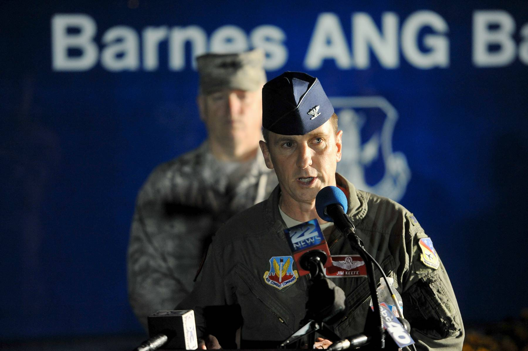 Col. James Keefe, commander of the 104th Fighter Wing of the Massachusetts Air National guard announces Thursday evening Aug. 28, 2014 the missing F-15C pilot remains have been found in the plane wreckage.