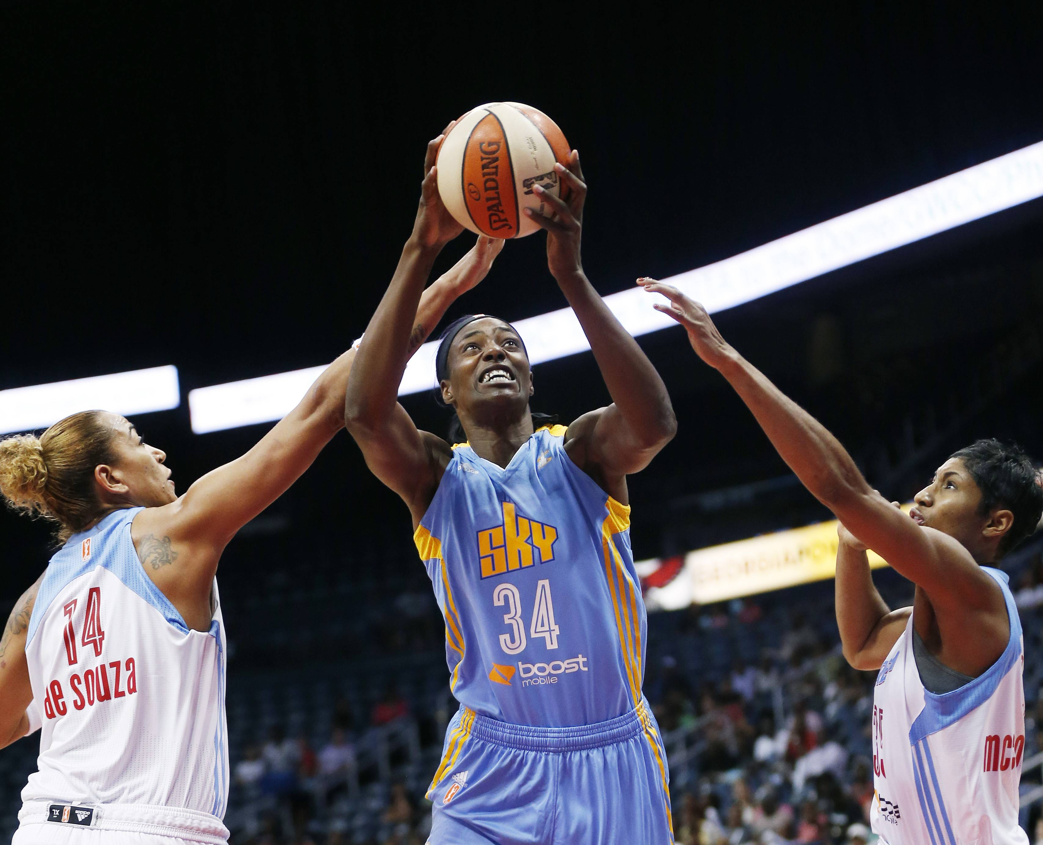 Sky veteran Sylvia Fowles (34) makes her first appearance in the Eastern Conference finals on Saturday against the Indiana Fever at Indianapolis.