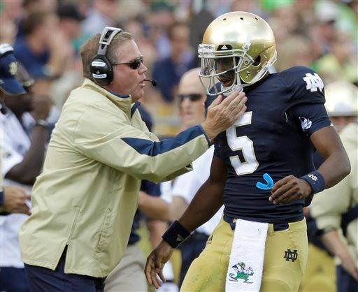 Notre Dame coach Brian Kelly will once again turn to quarterback Everett Golson to lead his offense on Saturday. Golson, who was suspended last season, faces Rice in the home opener in South Bend.