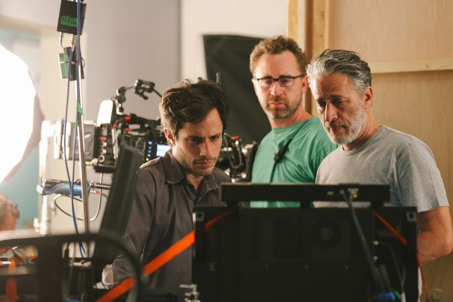 """Daily Show"" host Jon Stewart, right, directs and writes the drama ""Rosewater."""