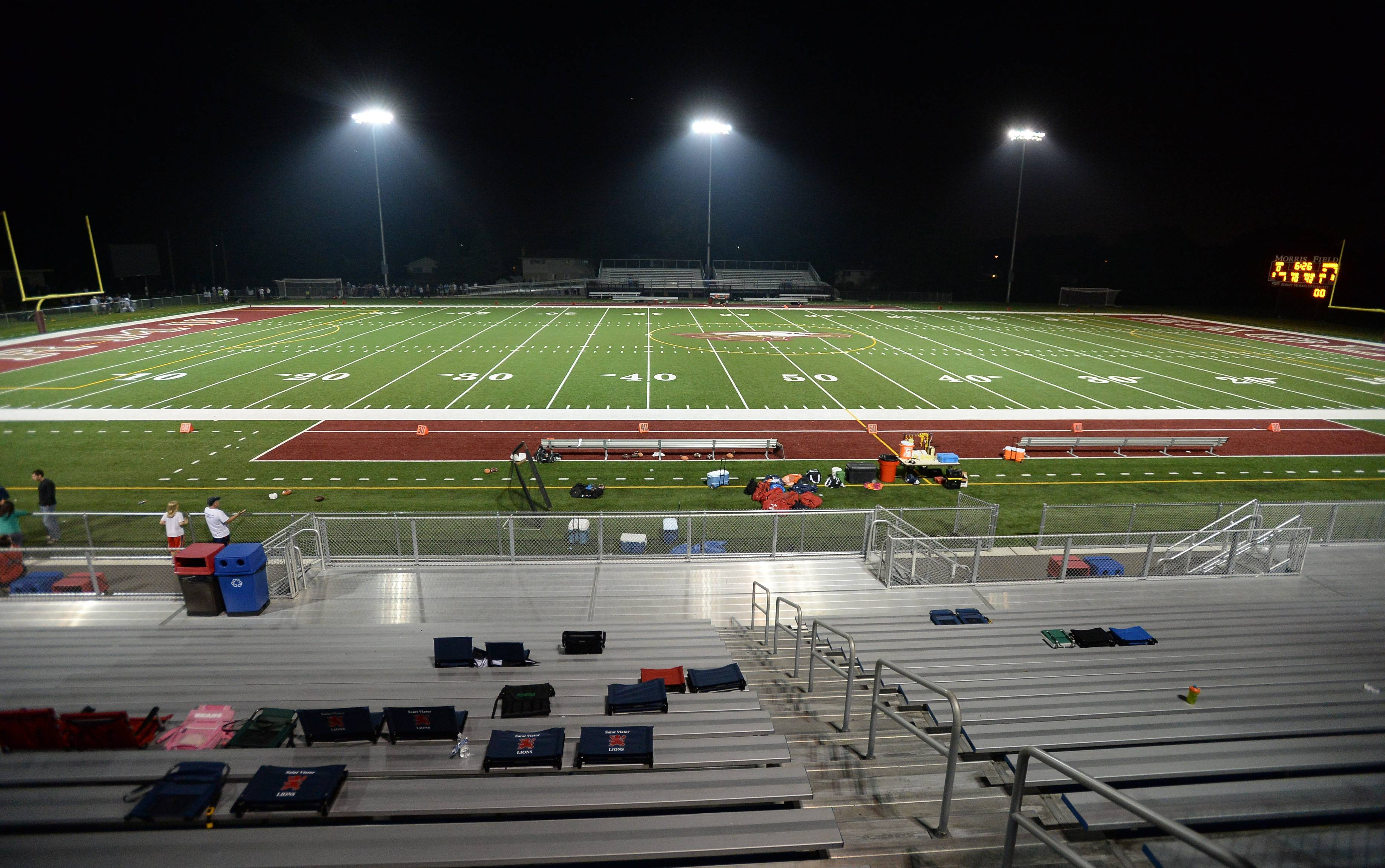 Stormy weather washed out many of the suburban football openers Friday night. Several games were called or postponed until Saturday due to lightning in the area including the St Viator-Rolling Meadows game.
