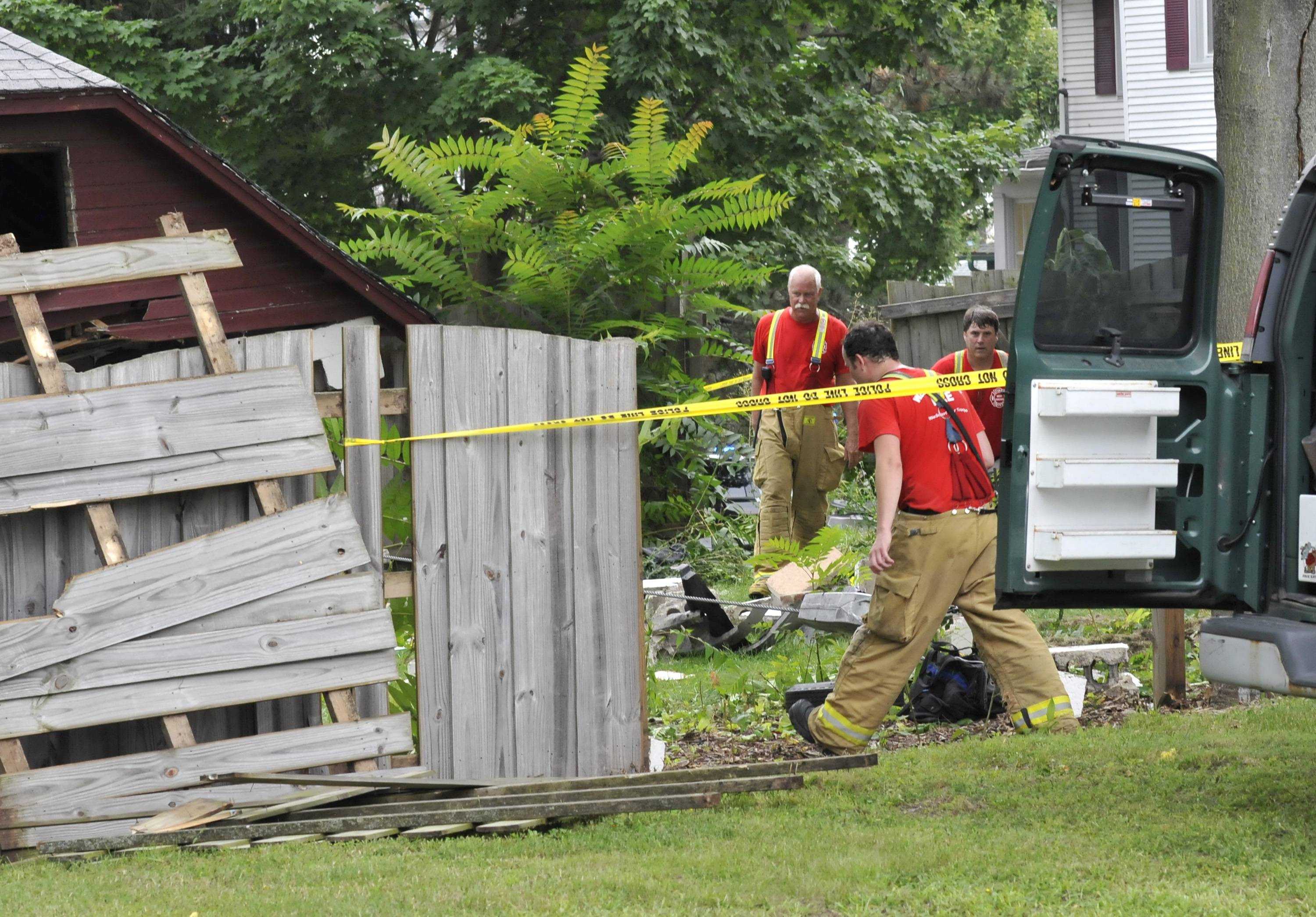Witnesses reported hearing a loud bang Friday morning when a car left the street on the 400 block of Colford Avenue in West Chicago and drove through a garage.