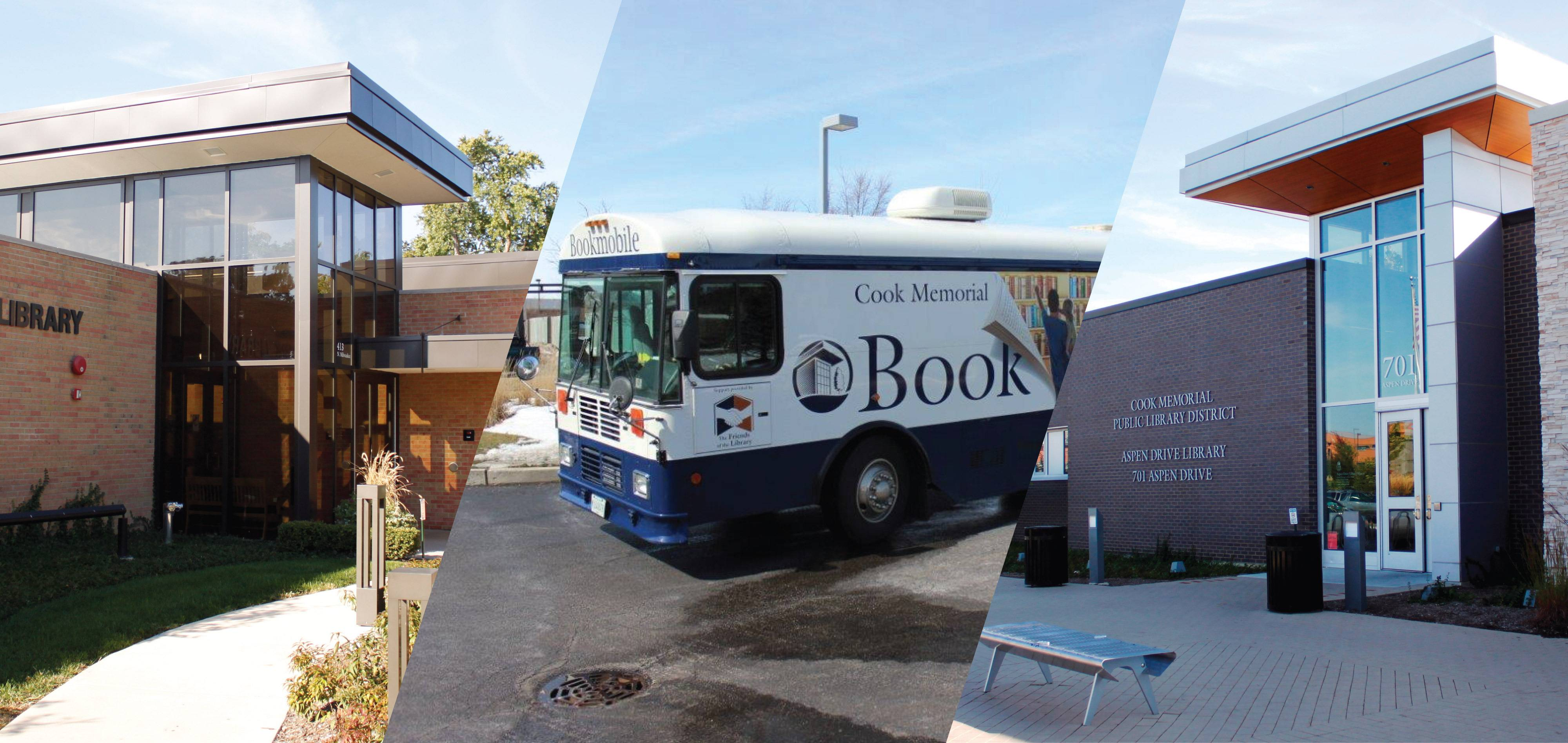Cook Memorial Public Library District is served by locations in Libertyville and Vernon Hills, as well as a bookmobile.