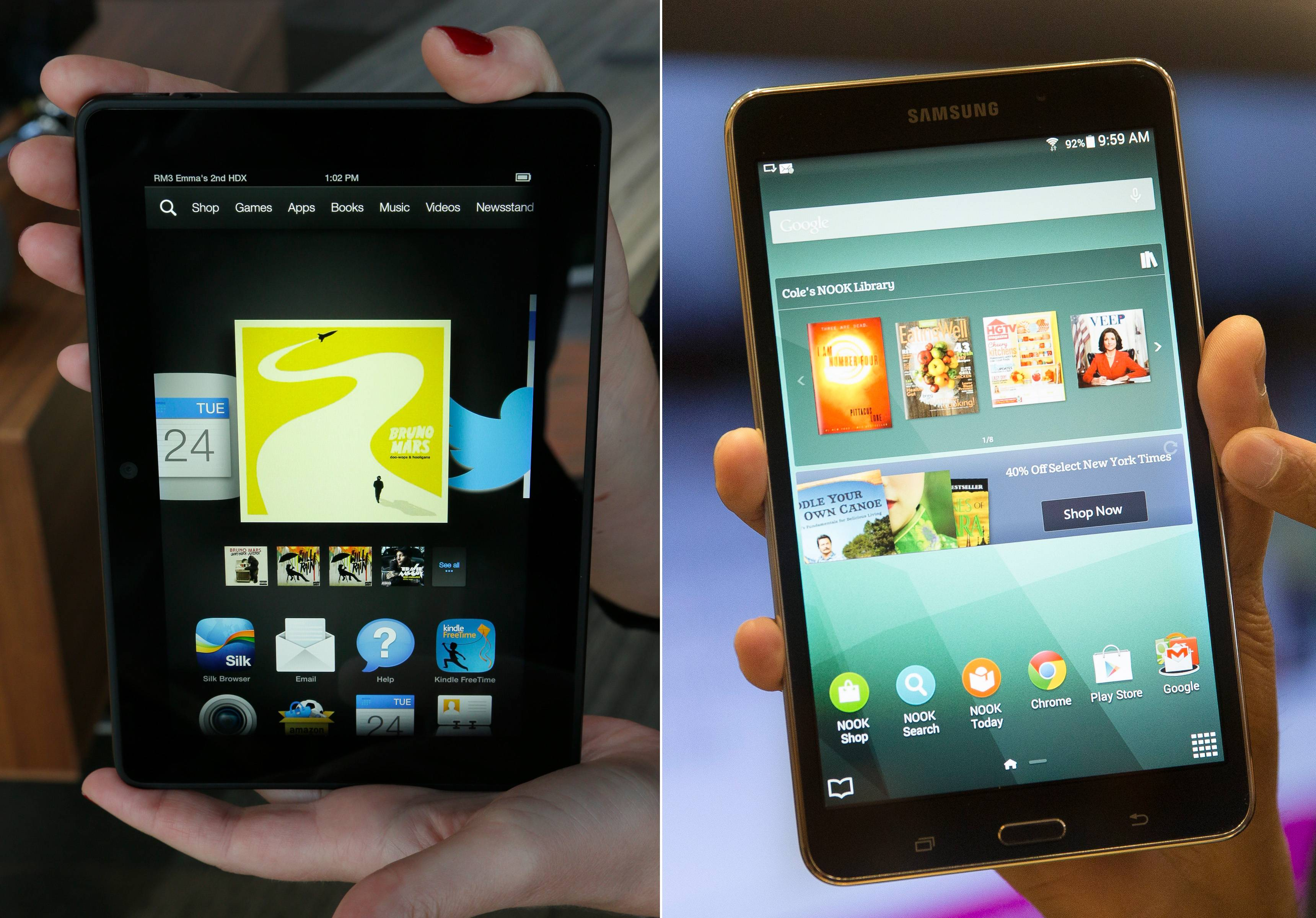 This combination of file photos shows the 7-inch Amazon Kindle HDX tablet, left, and the Samsung Galaxy Tab 4 Nook.
