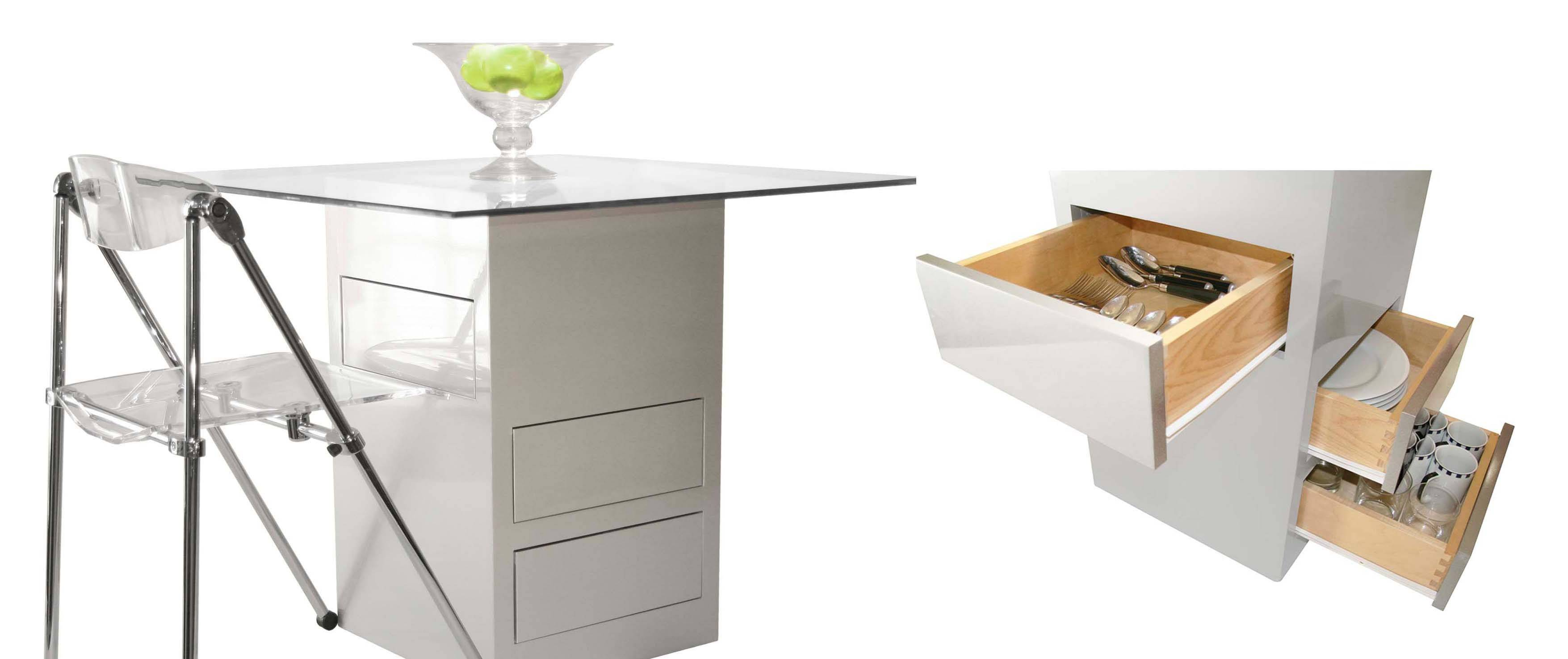 Itsy Bitsy Ritzy's Storage Pedestal Table and folding chair, left; the base of the table, right, has three drawers for storage and is one of the company's best sellers.