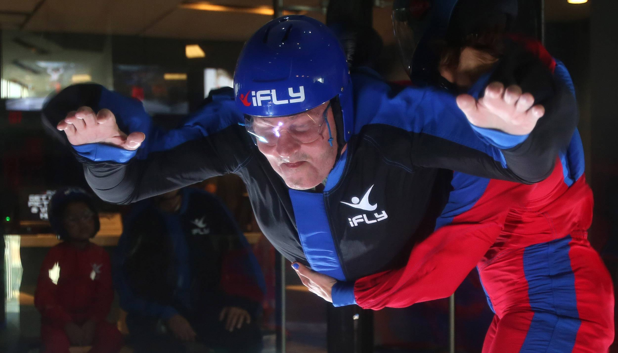Otto Becker, 67, of Aurora is blind but still wants to experience the rush of indoor sky diving at iFly in Naperville.