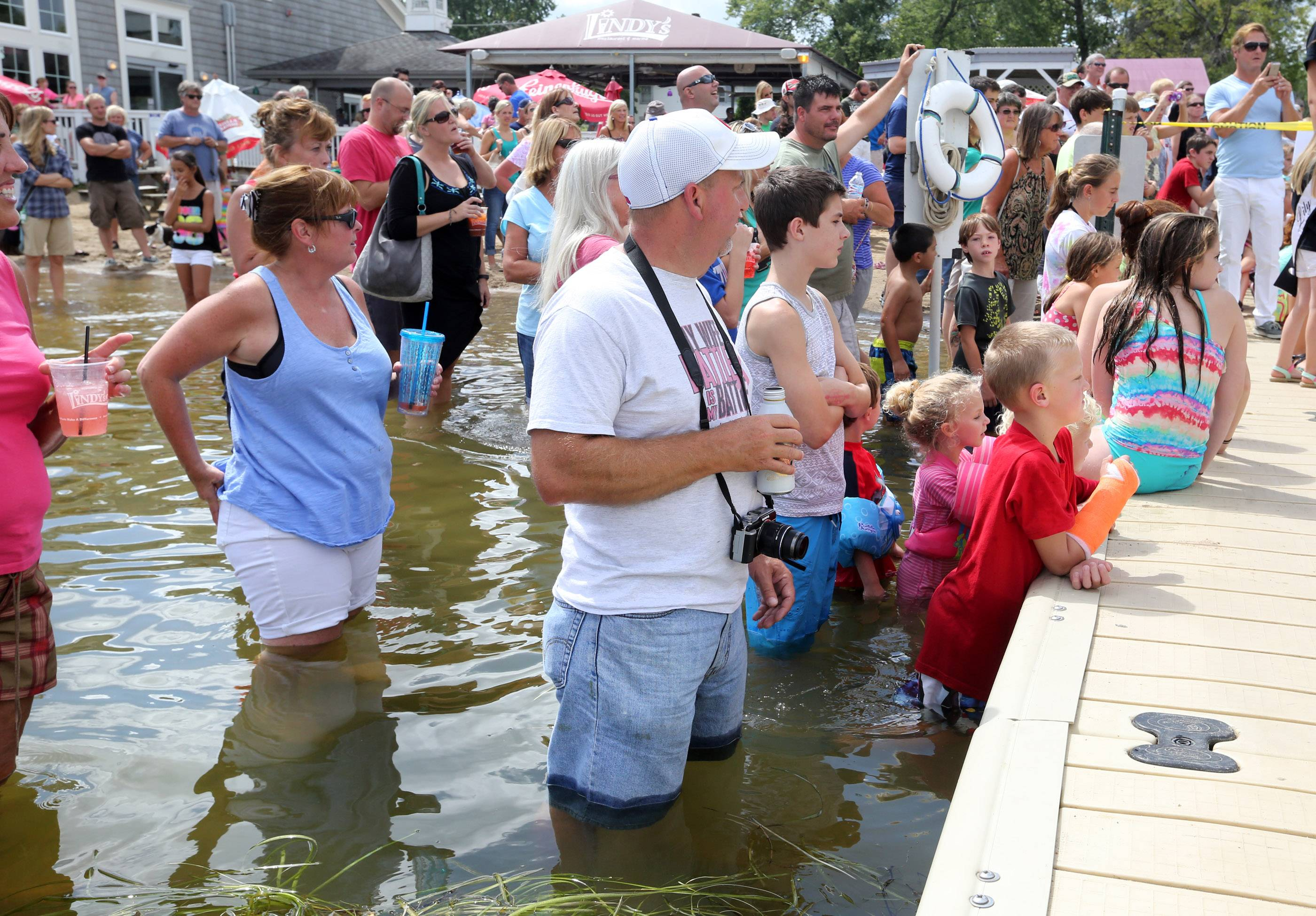 It was standing room only at the 13th Annual Labor Day Cardboard Boat Races at Lindy's Landing on Saturday at Wauconda's Bangs Lake.