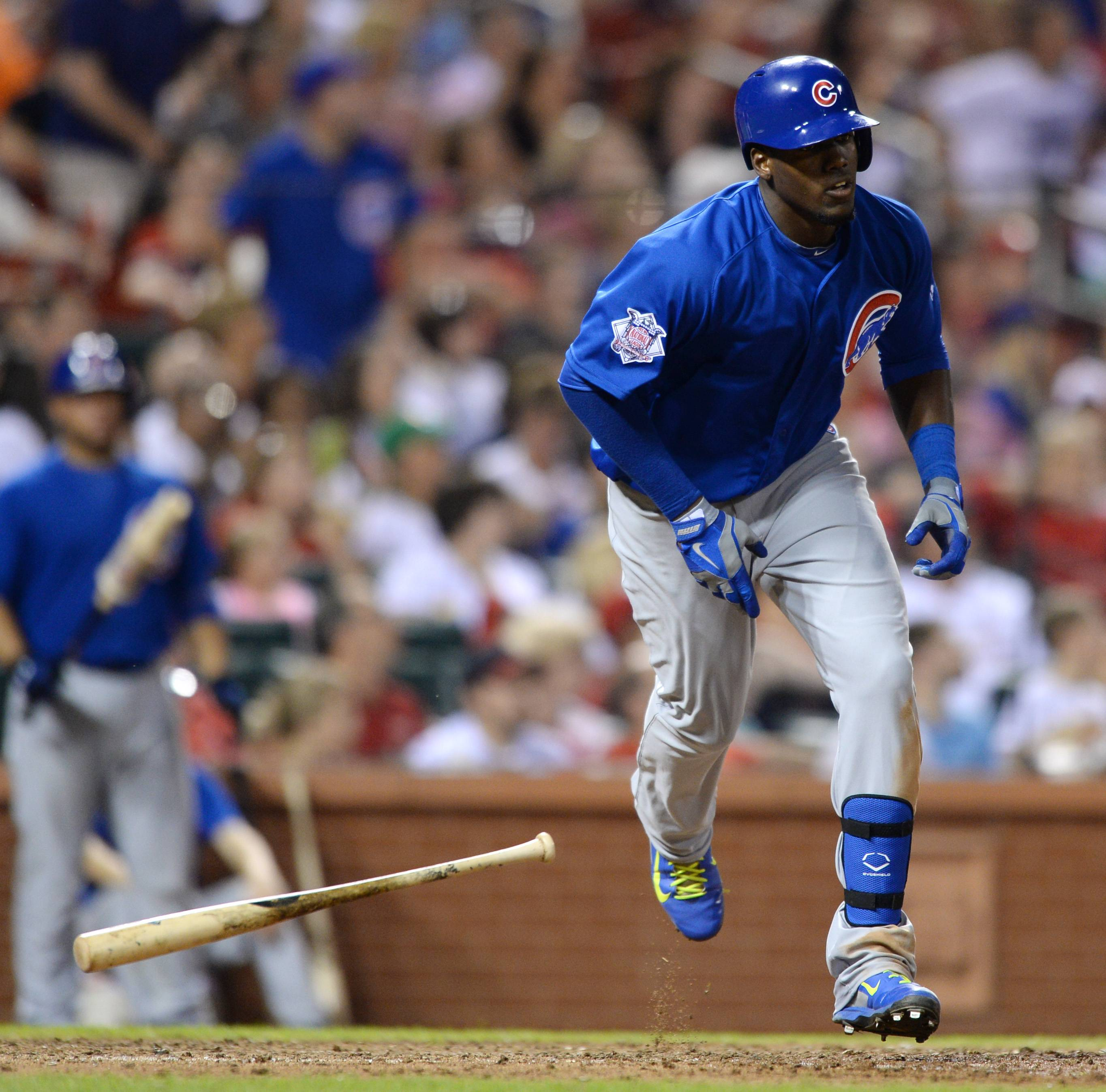 Cubs outfielder Jorge Soler heads to first on his 2-run home run Friday against the Cardinals in St. Louis.