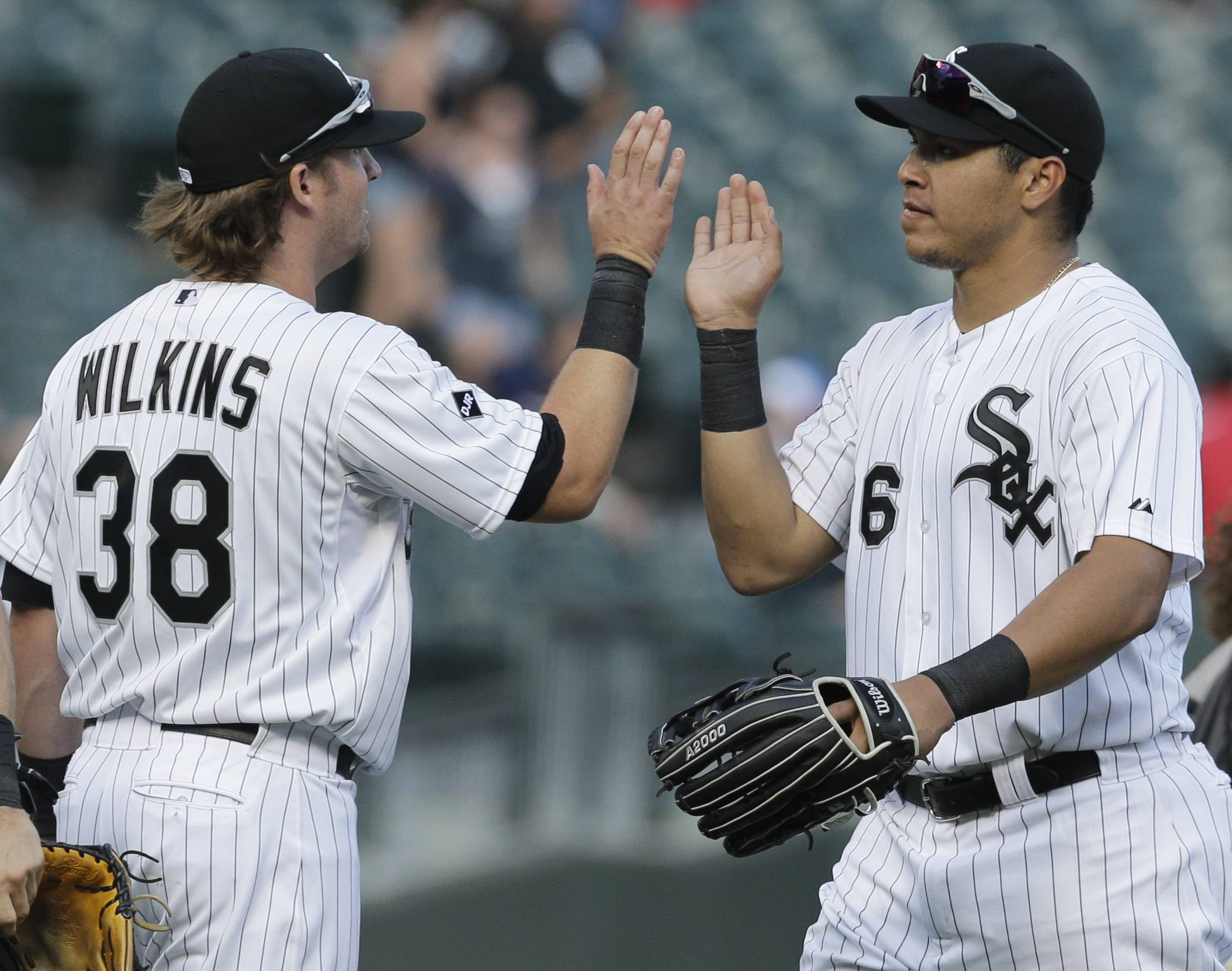 Andy Wilkins, left, shown with White Sox teammate Avisail Garcia, should see meaningful playing time in September following the departures of Adam Dunn and Alejandro De Aza.