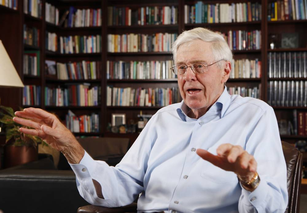 Charles Koch in his office at Koch Industries in Wichita, Kansas, where Koch Industries manages 60,000 employees in 60 countries. The Kochs are demonized by Democrats, who lack a liberal equal to counter their weight, and not entirely understood by Republicans, who benefit from their seemingly limitless donations.