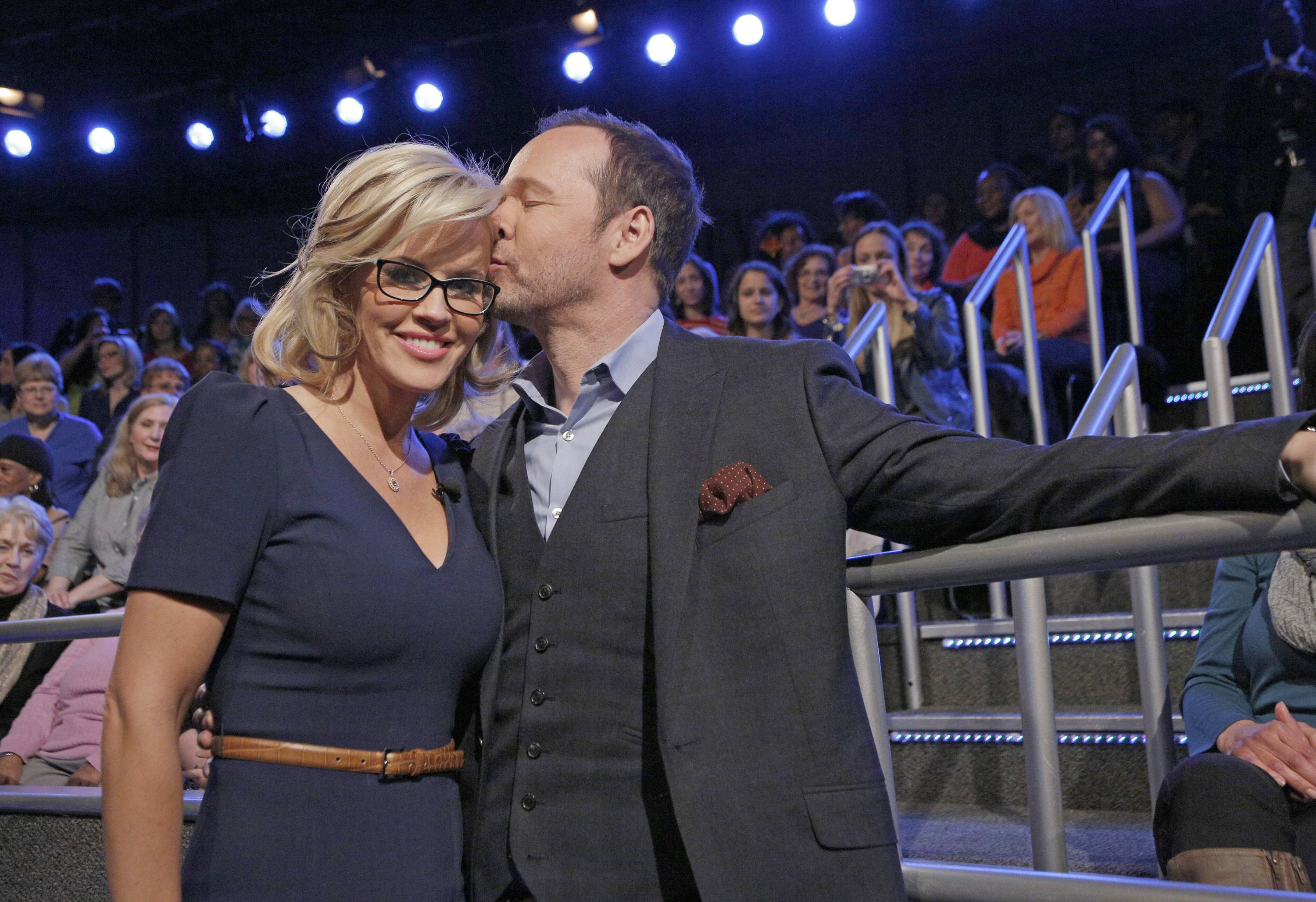 "Jenny McCarthy with her fiance Donnie Wahlberg after their engagement announcement April 16 on the daytime series ""The View."" McCarthy and Wahlberg tied the knot Sunday at Hotel Baker in St. Charles"