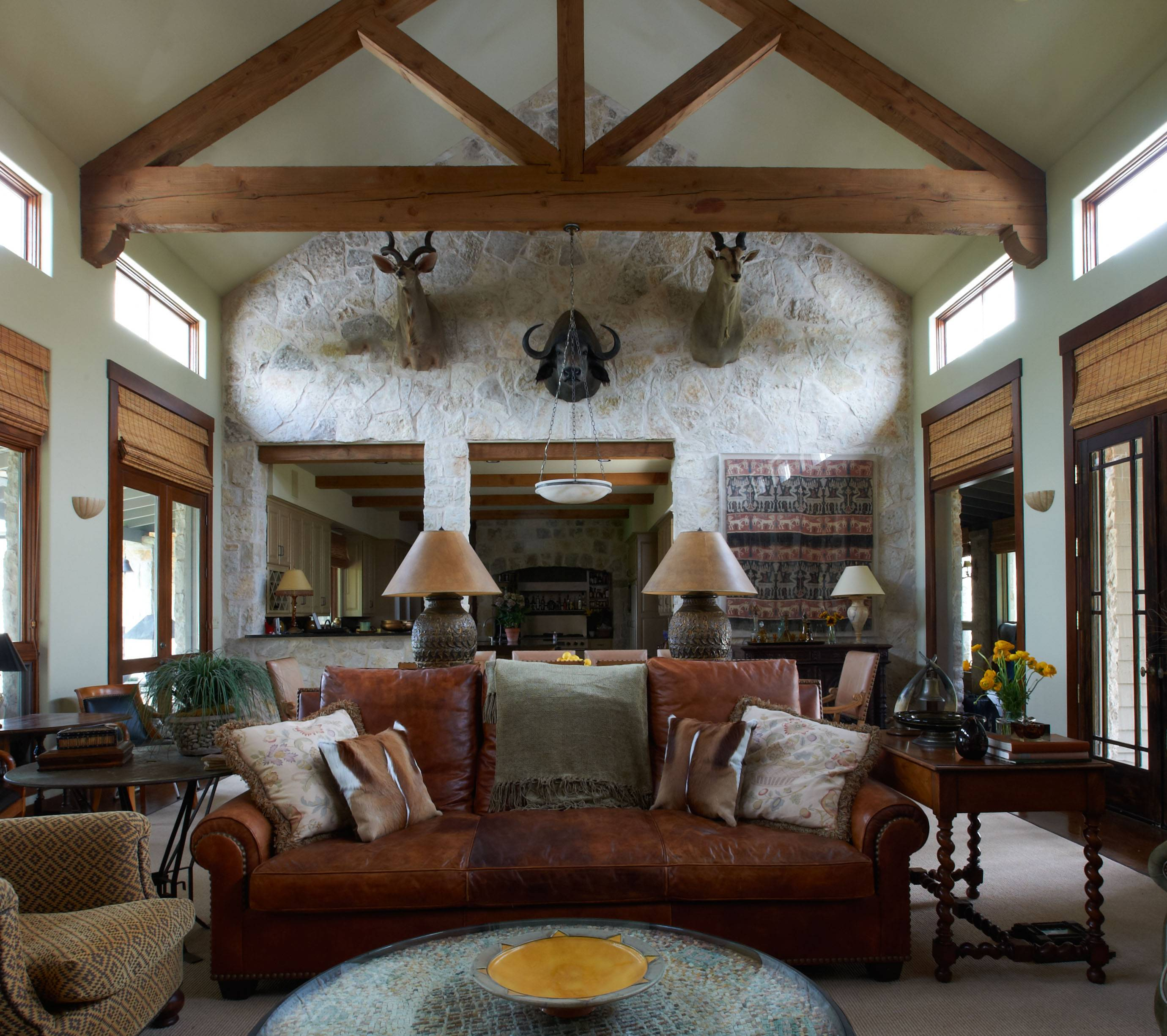 The main room of this ranch house in Glen Rose, Texas, was designed by interior designer Jan Showers.