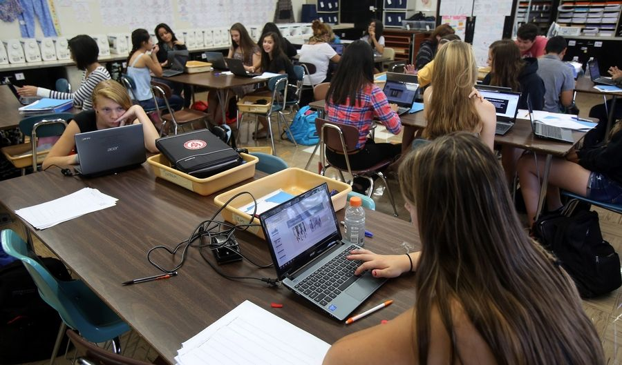 All Mundelein High School students received Chromebooks at the start of the new school year. They use them in class and at home.