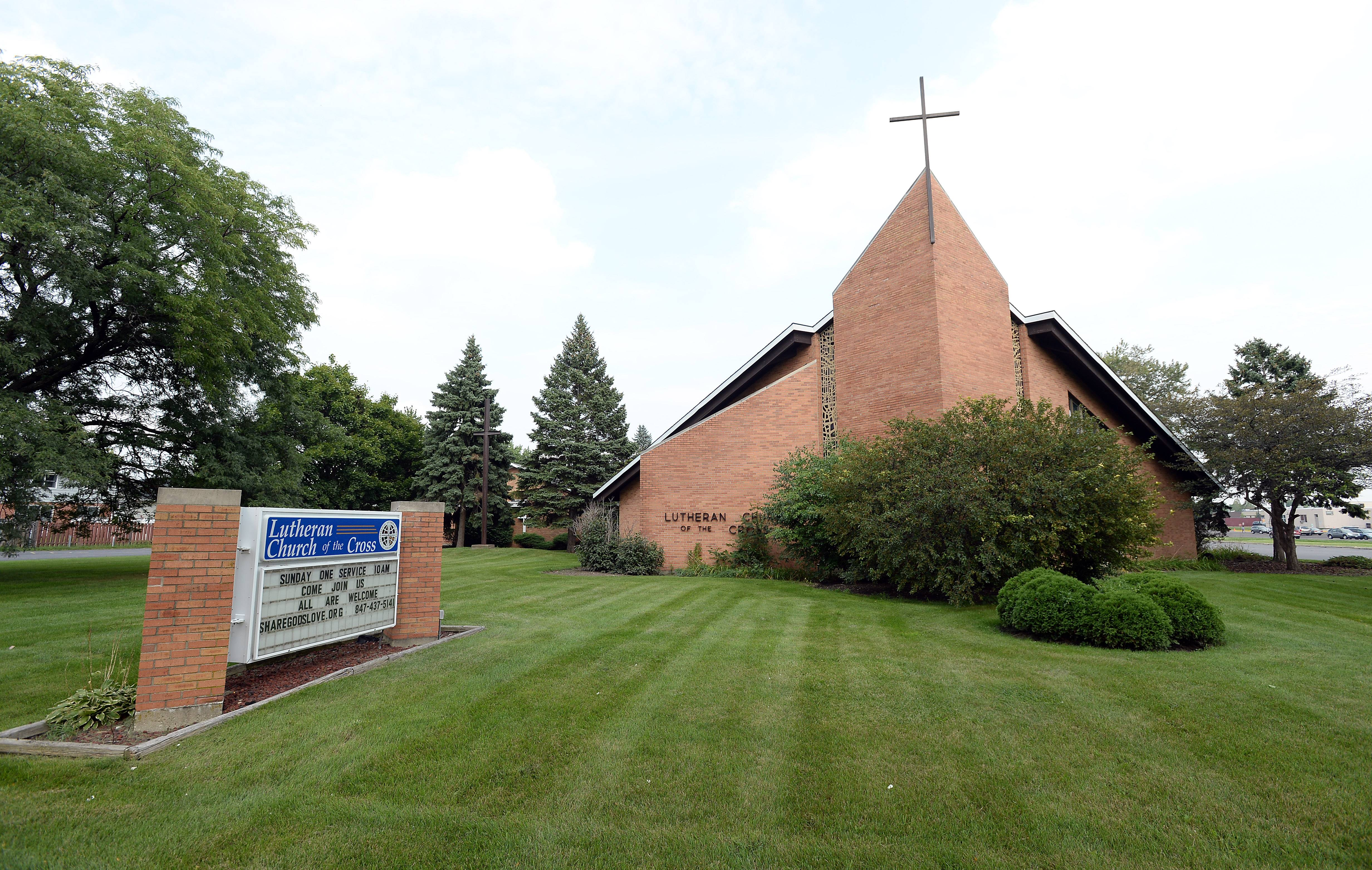 The Lutheran Church of the Cross in Arlington Heights back lot area is the proposed site of a warehouselike community closet that would be used for clothes and food for the needy in the community.