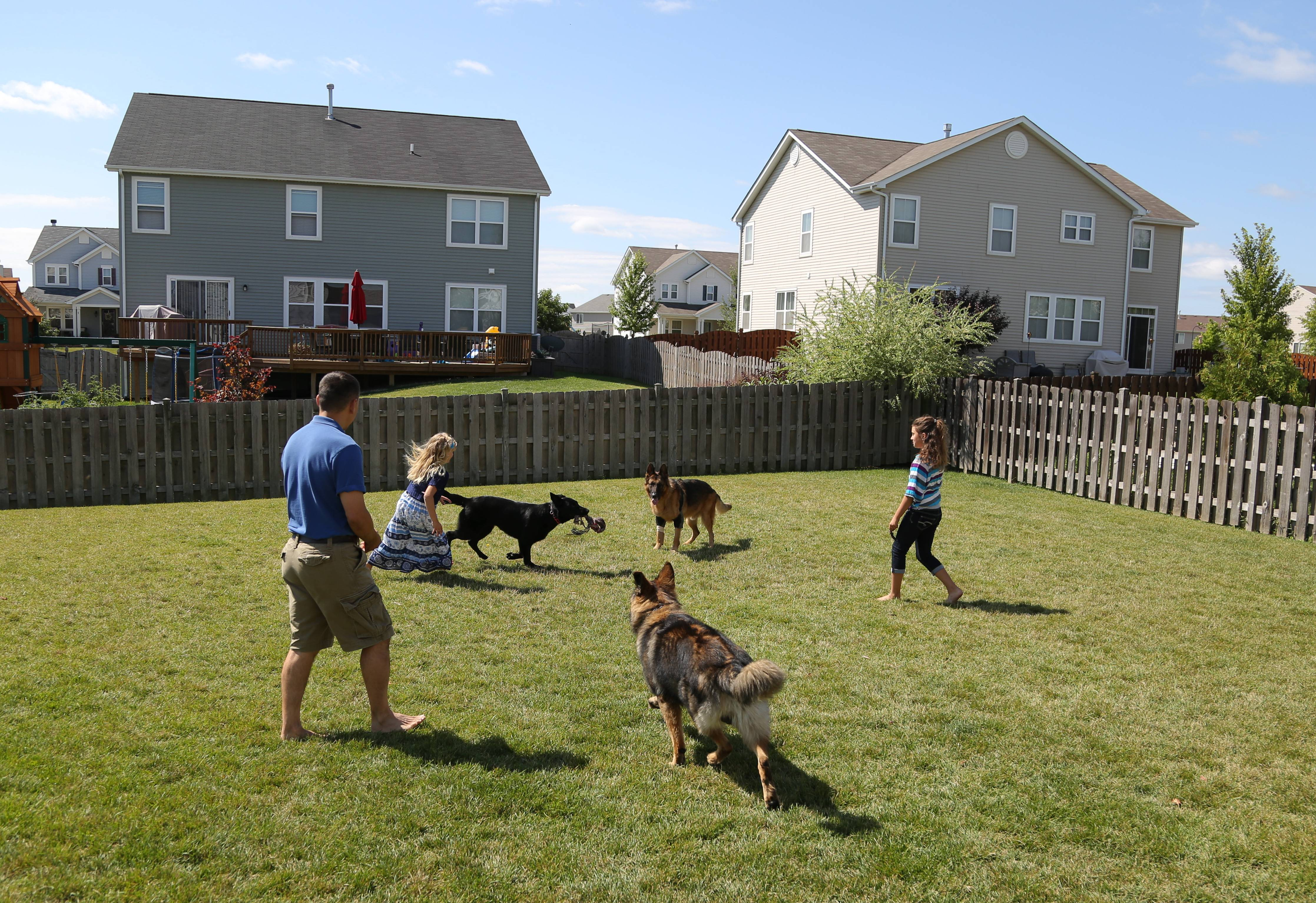 Gurnee Police Officer Phil Mazur and his daughters Kailey, 10, right, and Allison, 8, play in their backyard with retired police dog Shane, active dog Hunter and puppy, Talia, at their home in Kenosha, Wisconsin.