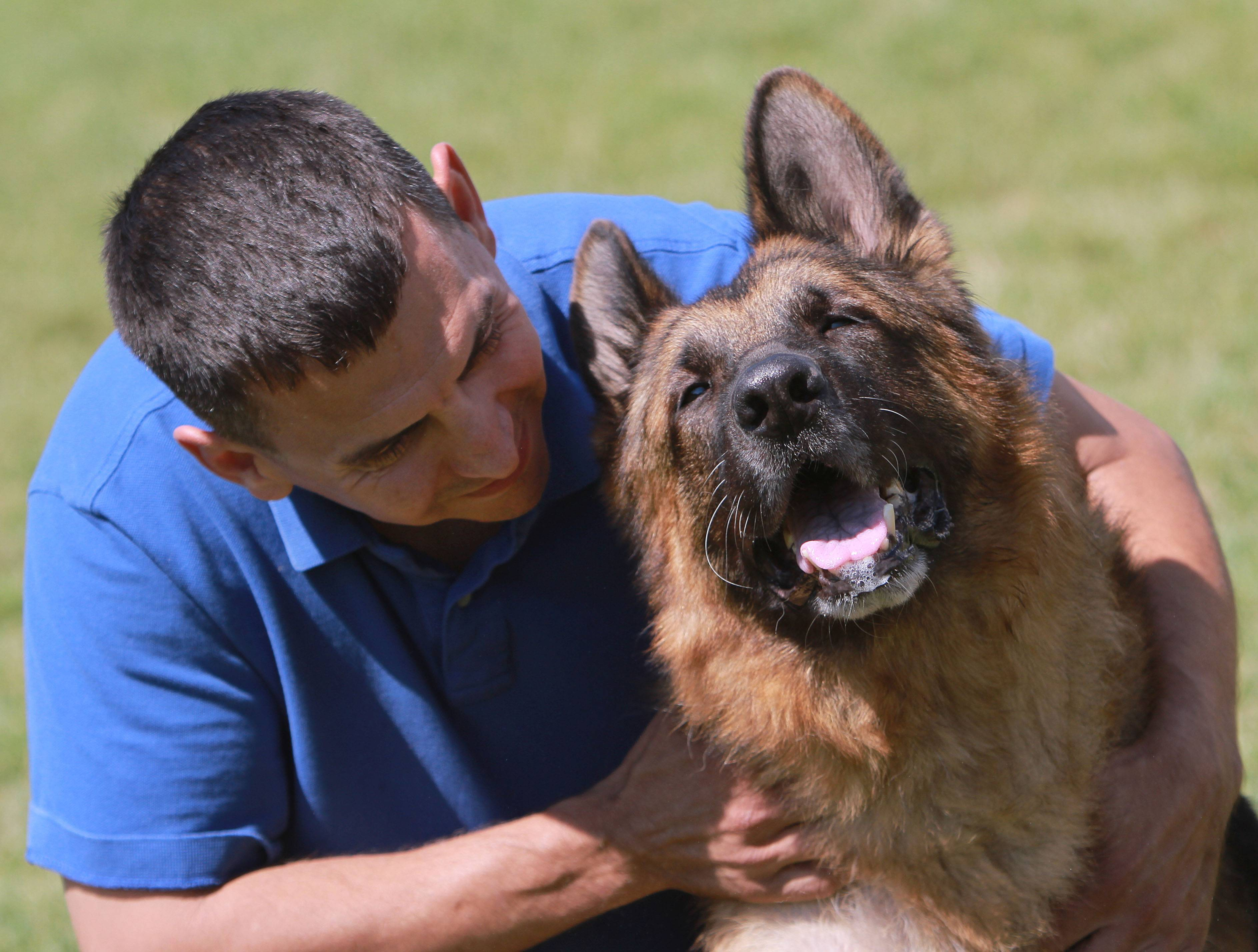 Shane, a retired police dog, has made the transition to a family pet for Gurnee police Officer Phil Mazur.