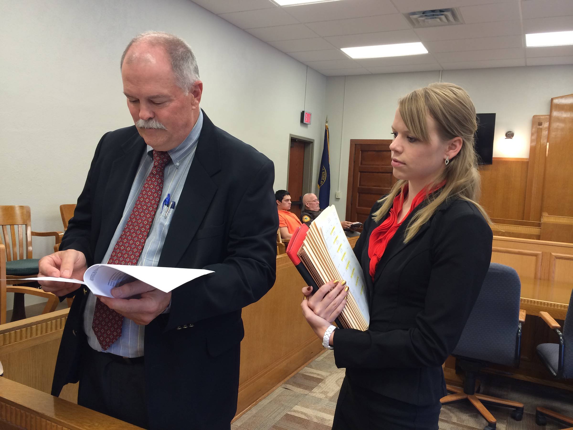 John Thomas, 61, an attorney in Center, Nebraska, teaches rural law lessons to his intern, Alissa Doerr. A second-year student at the Nebraska College of Law, she was Thomas' first law clerk applicant in 20 years.