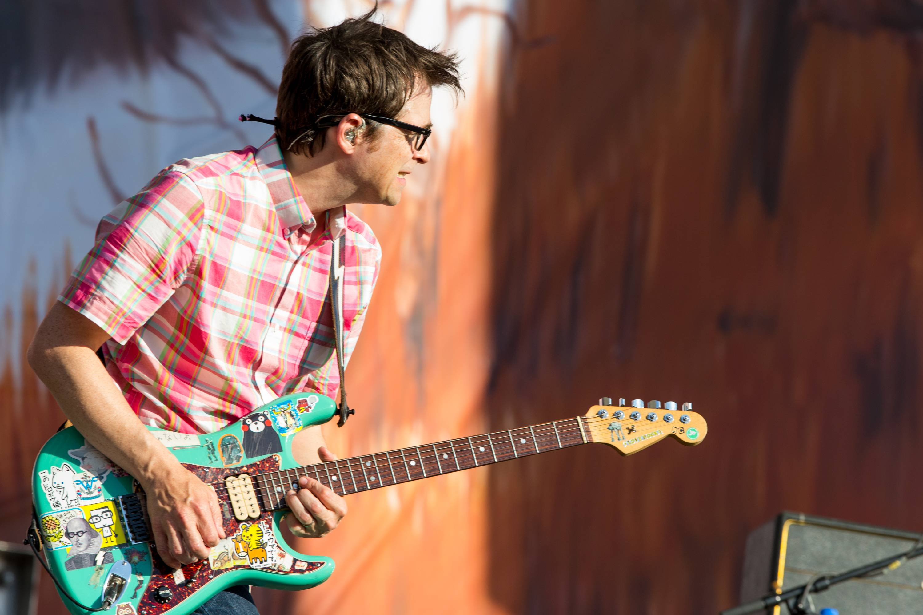 Rivers Cuomo of Weezer performs on stage during the Made In America Festival at Grand Park on Sunday, Aug. 31, 2014, in Los Angeles, Calif.
