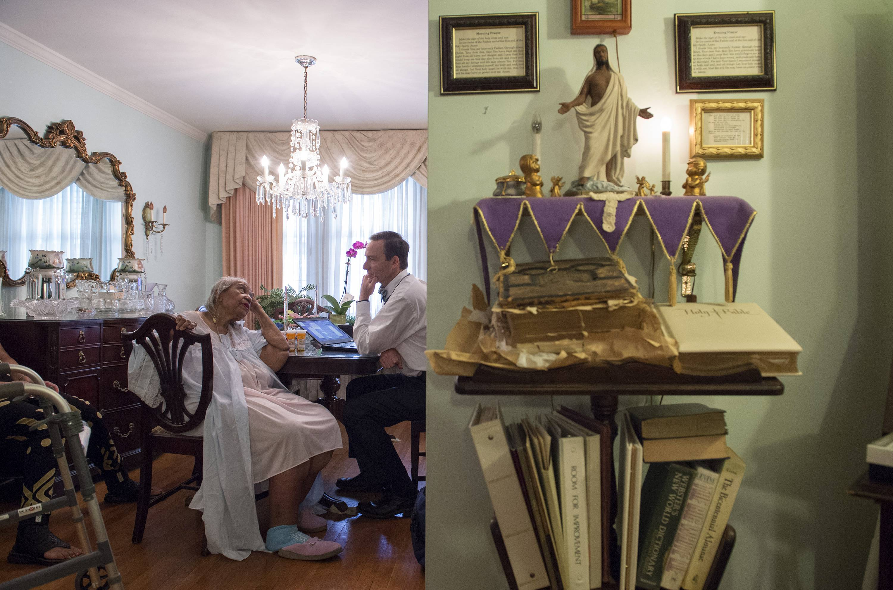 Dr. Eric De Jonge of Washington Hospital Center conducts a Medicare house call at the home of patient Beatrice Adams.