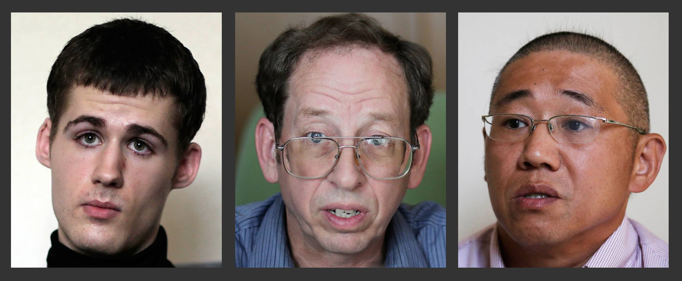 From left to right, Mathew Miller, Jeffrey Fowle and Kenneth Bae -- all Americans being detained in North Korea -- were permitted foreign media access Monday.