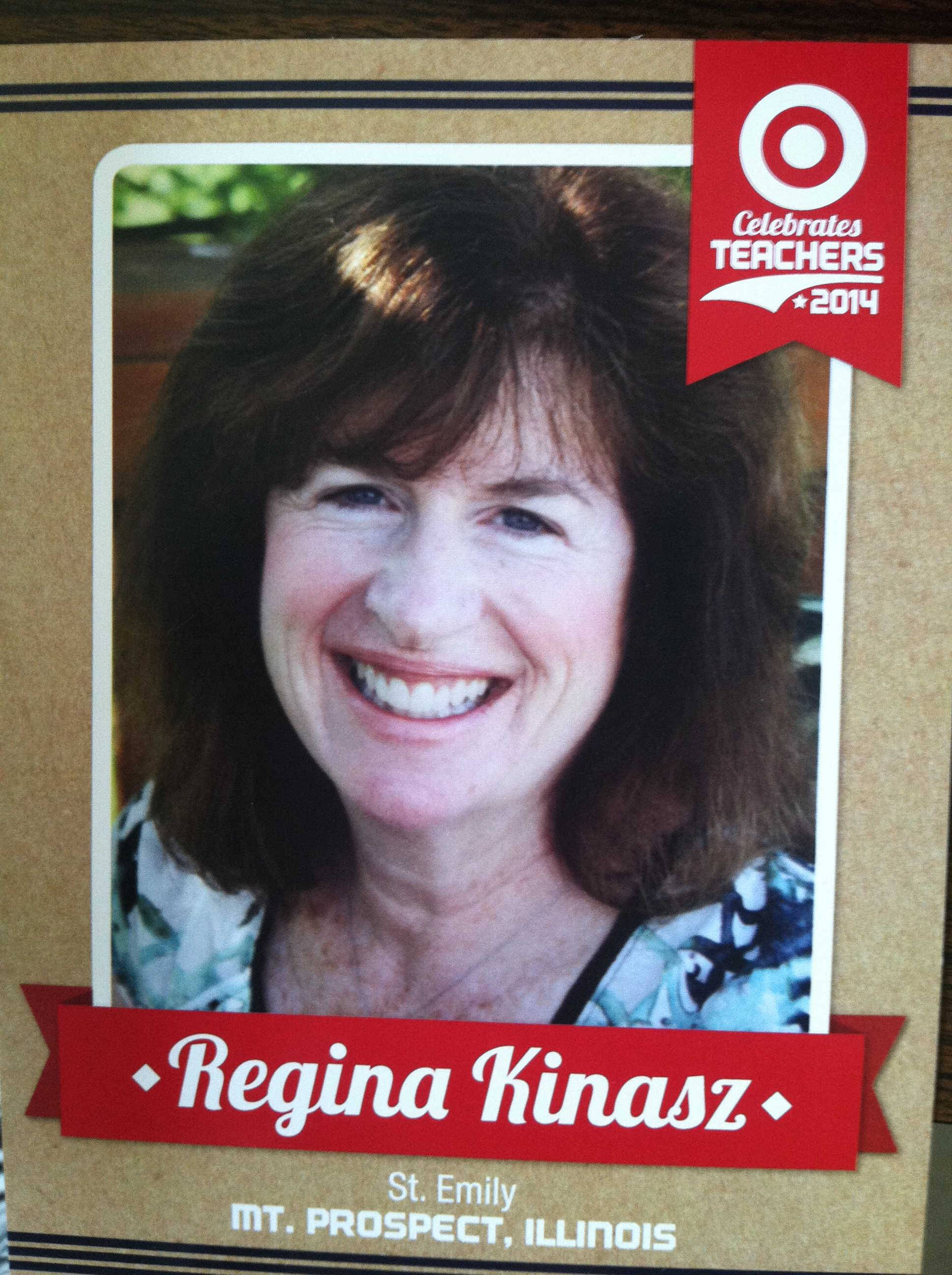 This is the front of Regina Kinasz's teacher trading card from the All-Star game.