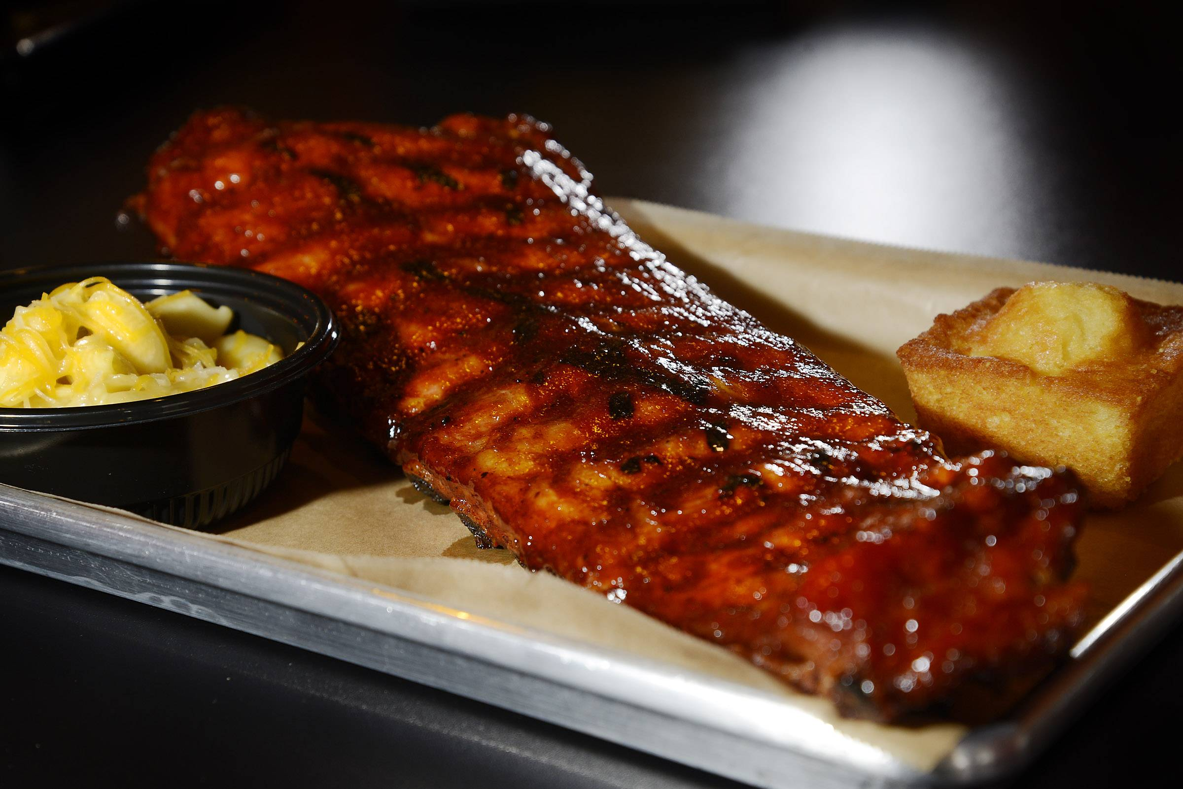 Hungry? A full slab of ribs with sides of cornbread and macaroni and cheese at Rock 'n Ribs BBQ in Lake Zurich will fill you up. Not that hungry? Order a third of a rack.