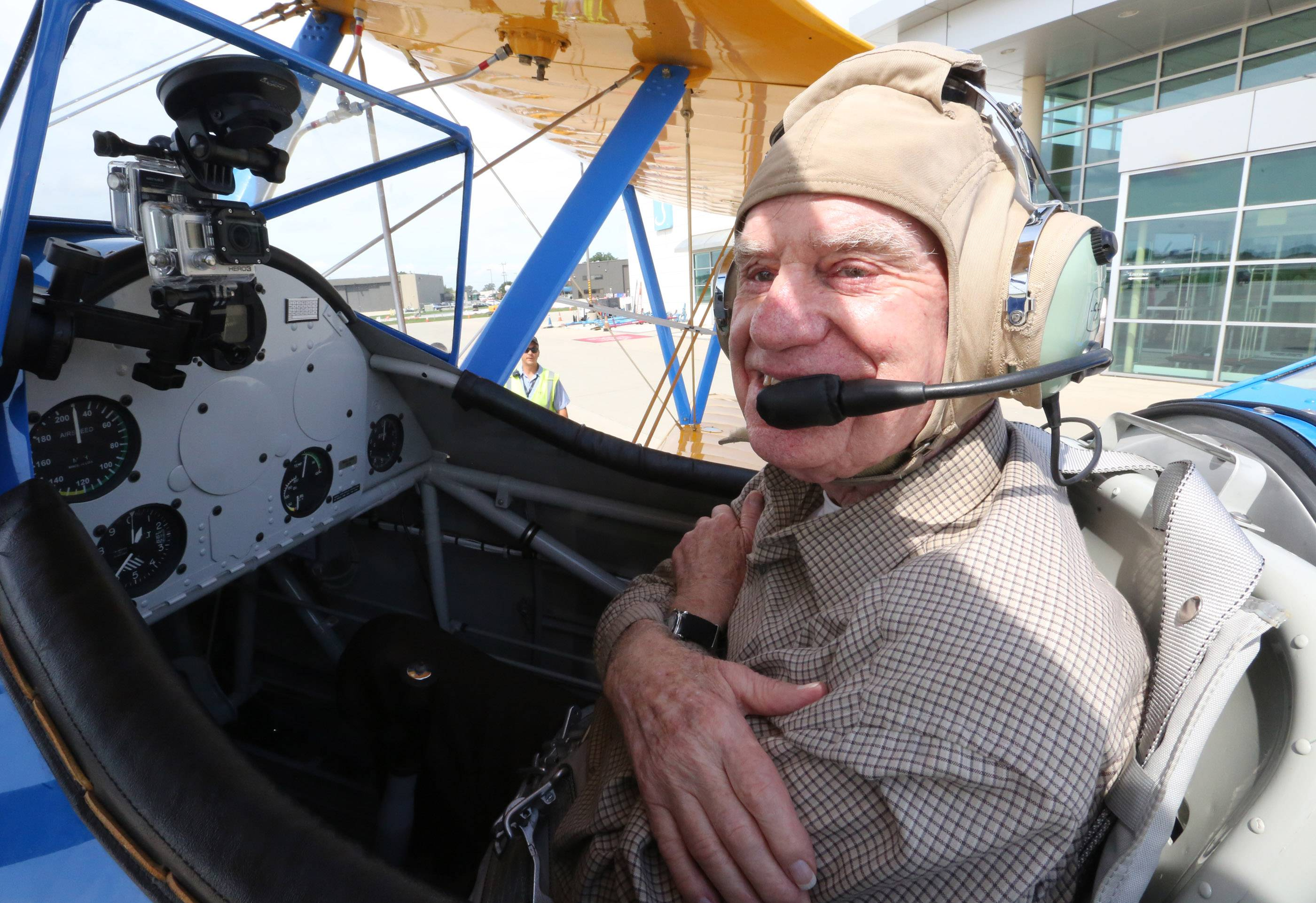 George LeClaire/gleclaire@dailyherald.comKen Erickson of Northbrook at Chicago Executive Airport in Wheeling on Wednesday after flying in the front set of a 1942 Boeing Stearman.