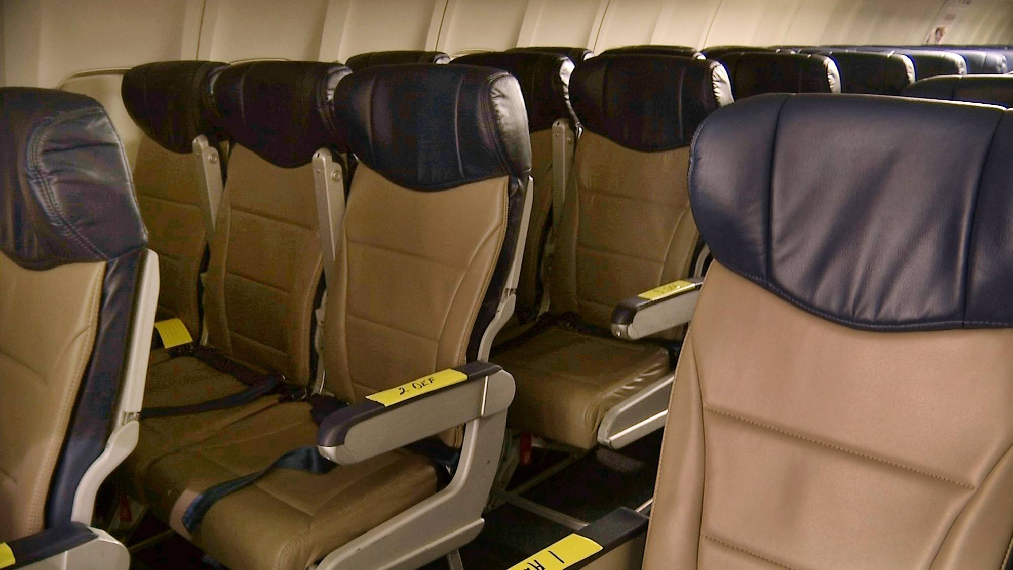 "Rows of slimline seats await installation aboard a Southwest Airlines 737 at the carrier's headquarters in Dallas. ""Seats are getting closer together,"" says Sara Nelson, president of the Association of Flight Attendants, which represents 60,000 flight attendants at 19 airlines."