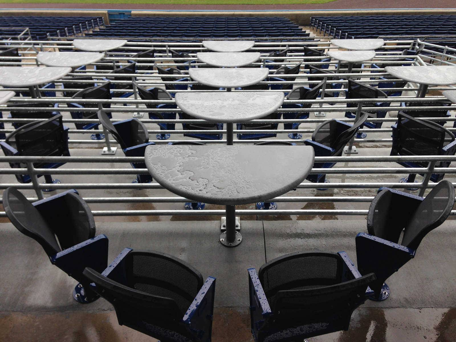 COURTESY OF 4TOPPS   Seating options similar to these 4Topps table units at  the home of the Norfolk Tide are coming to the Kane County Cougars' Fifth Third Bank Ballpark next year.
