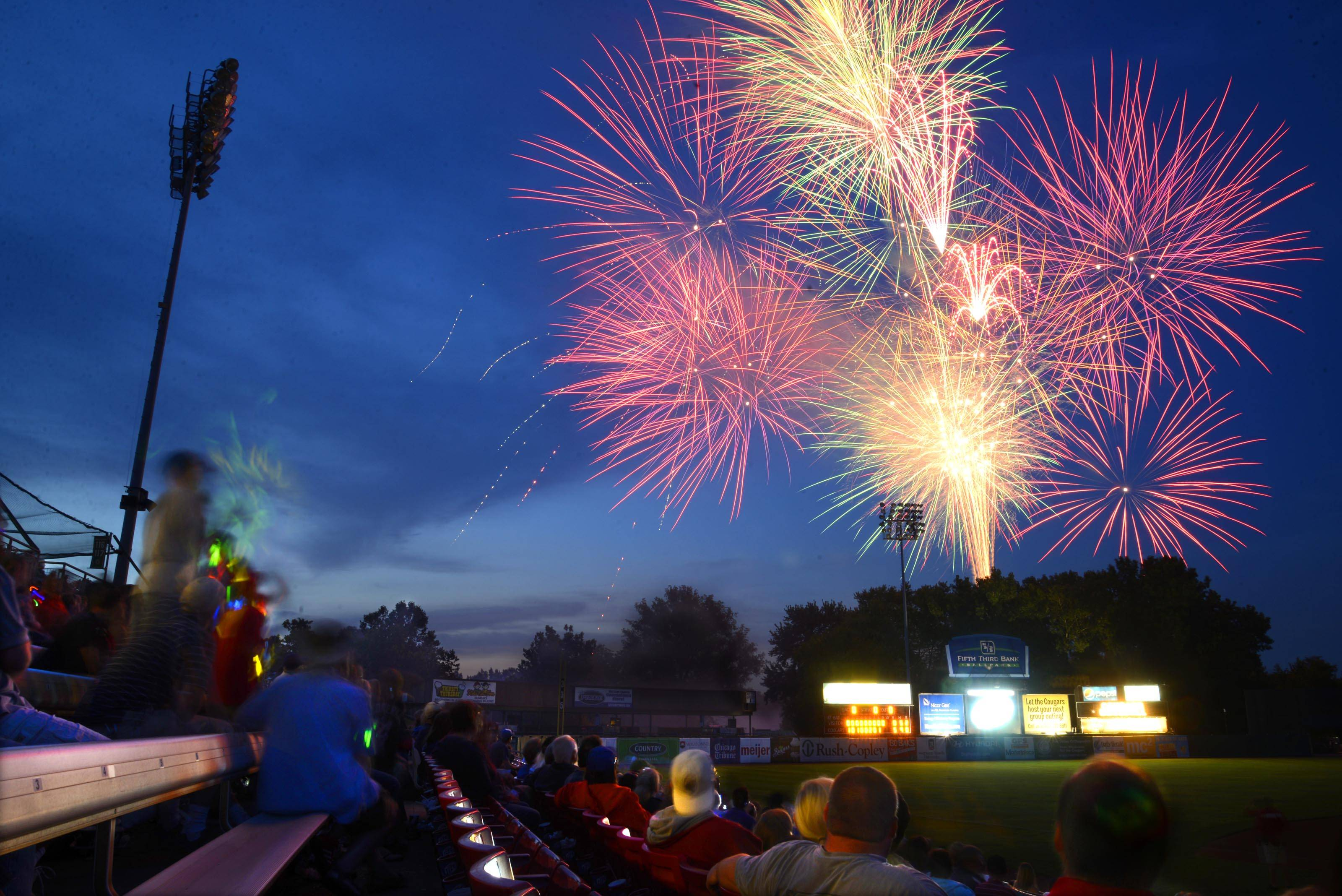 Fireworks light up the sky over Fifth Third Ballpark after a recent Kane County Cougars game in Geneva.