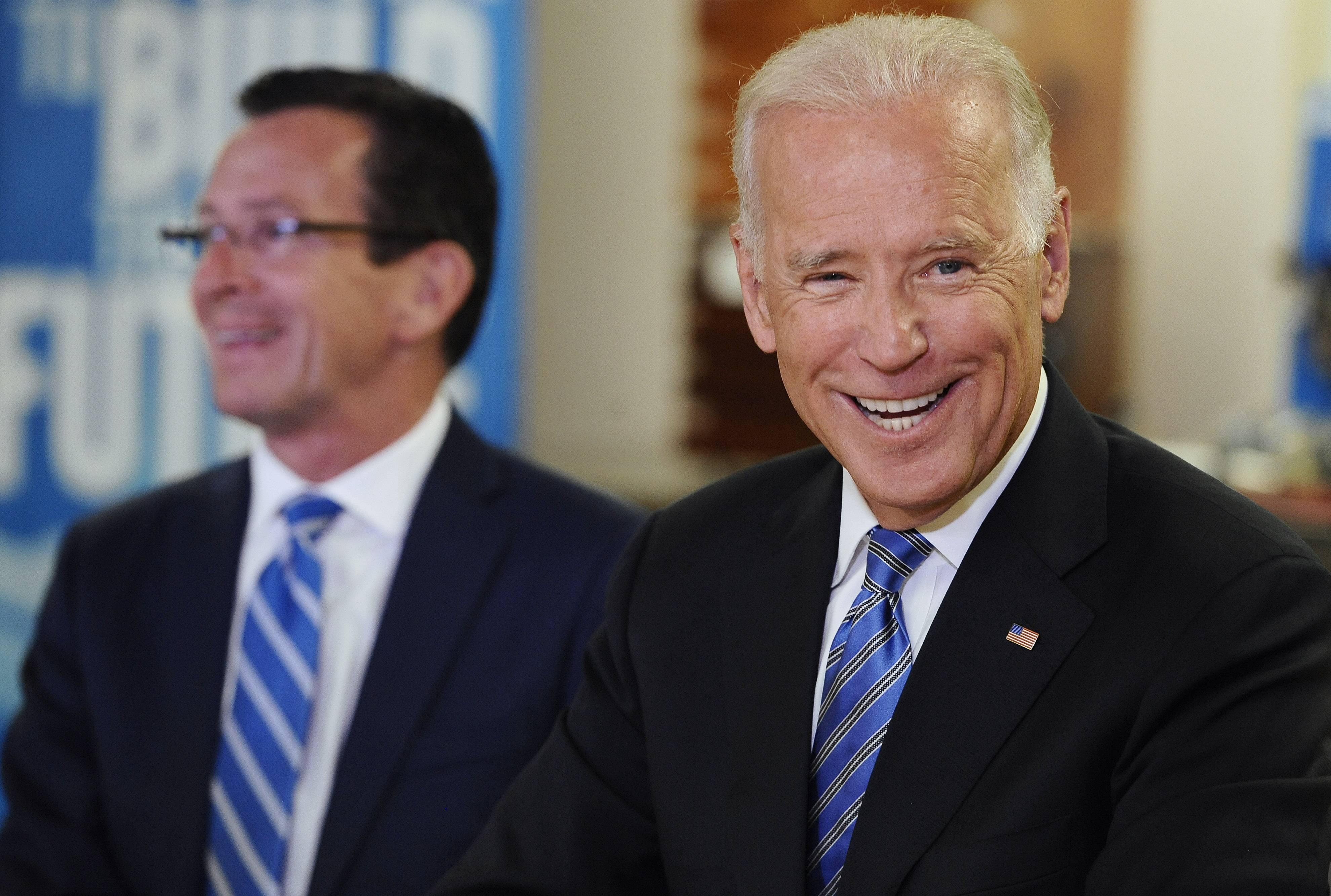 Vice President Joe Biden, right, with Connecticut Gov. Dannel P. Malloy.