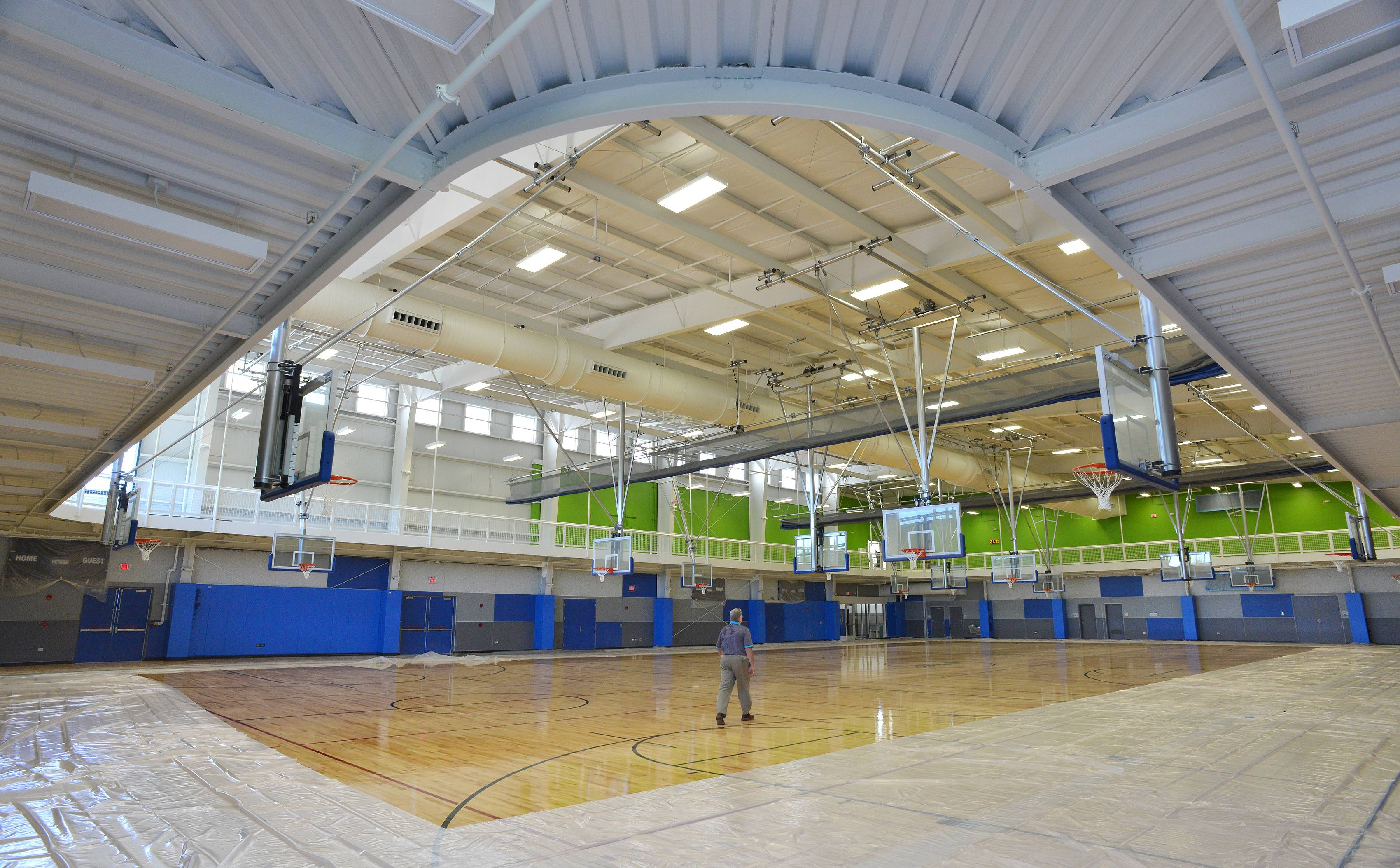 A three-court main gym surrounded by a running track will greet visitors to West Chicago Park District's indoor recreation center. Run 11 laps and you'll have covered a mile.
