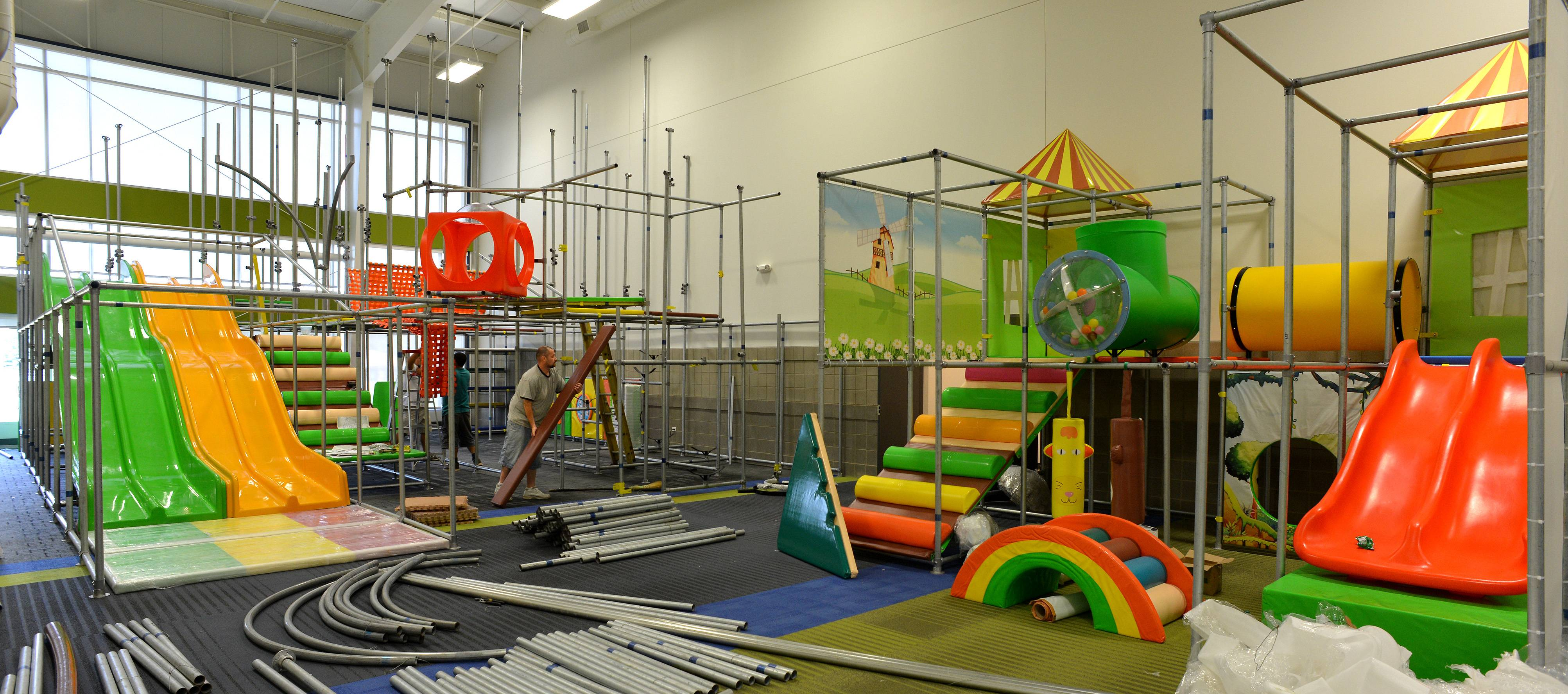 Crews still were putting the finishing touches last week on what will be an extensive children's play area in the ARC Center.