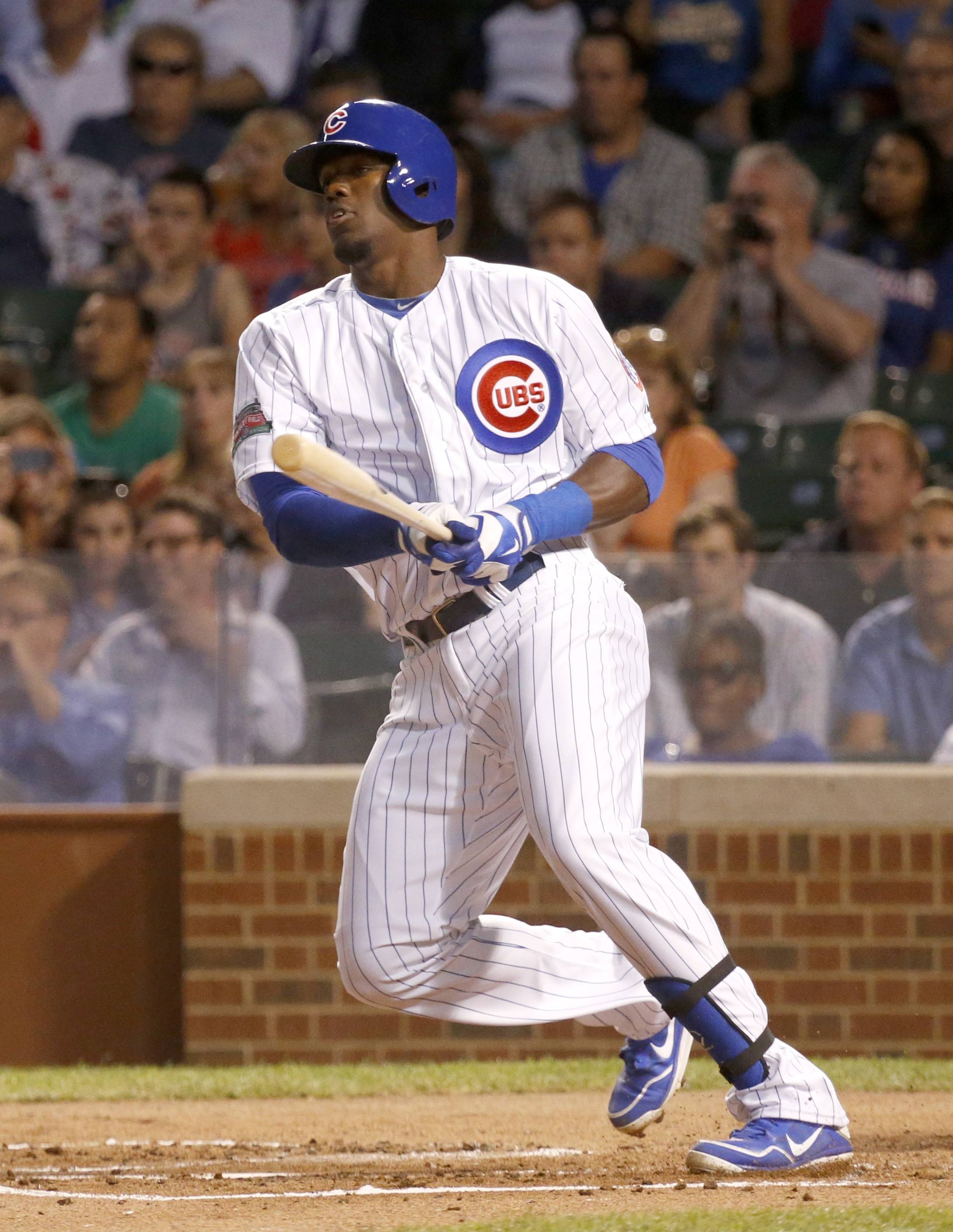 Jorge Soler watches his RBI single during the Cubs' 4-run first inning Tuesday night. Starlin Castro sprained his left ankle scoring on the play.