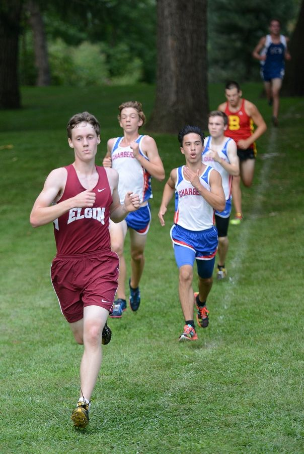 Elgin's Logan Jostes would cross the finish line first for his varsity team at the Elgin Invite cross country meet at Lords Park in Elgin on Tuesday.