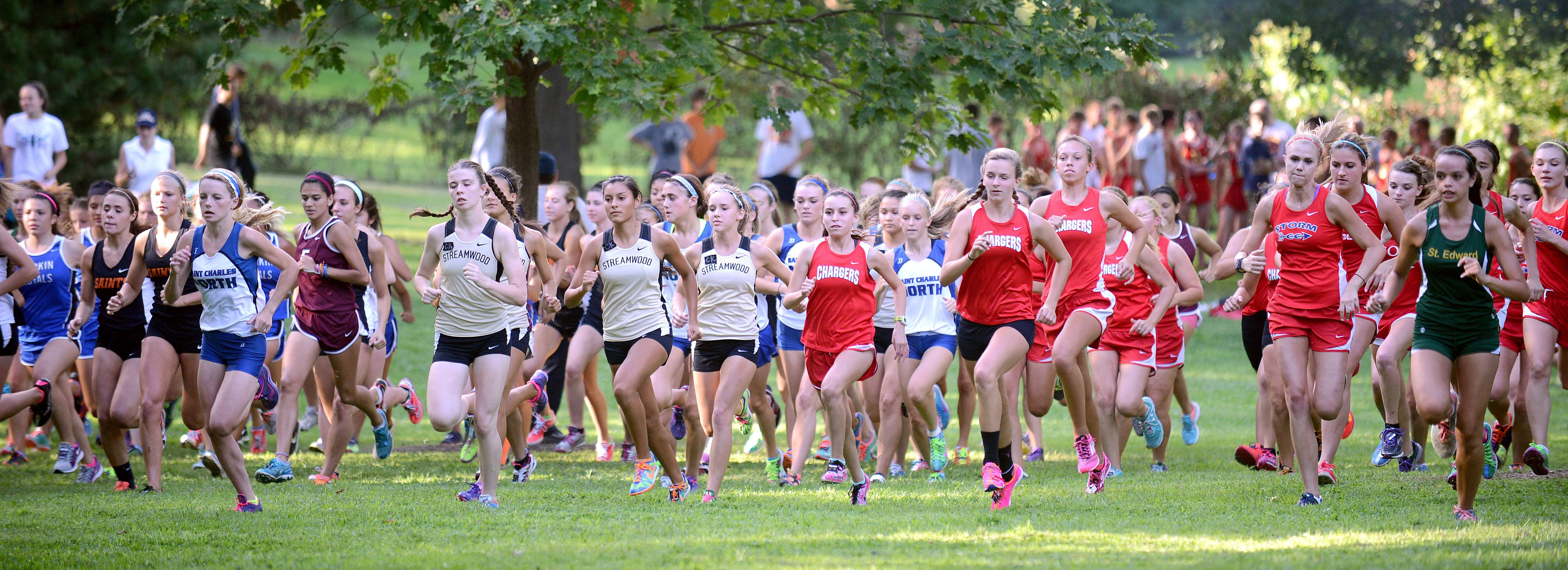 Girls varsity takes off from the starting line at the Elgin Invite cross country meet at Lords Park in Elgin on Tuesday.