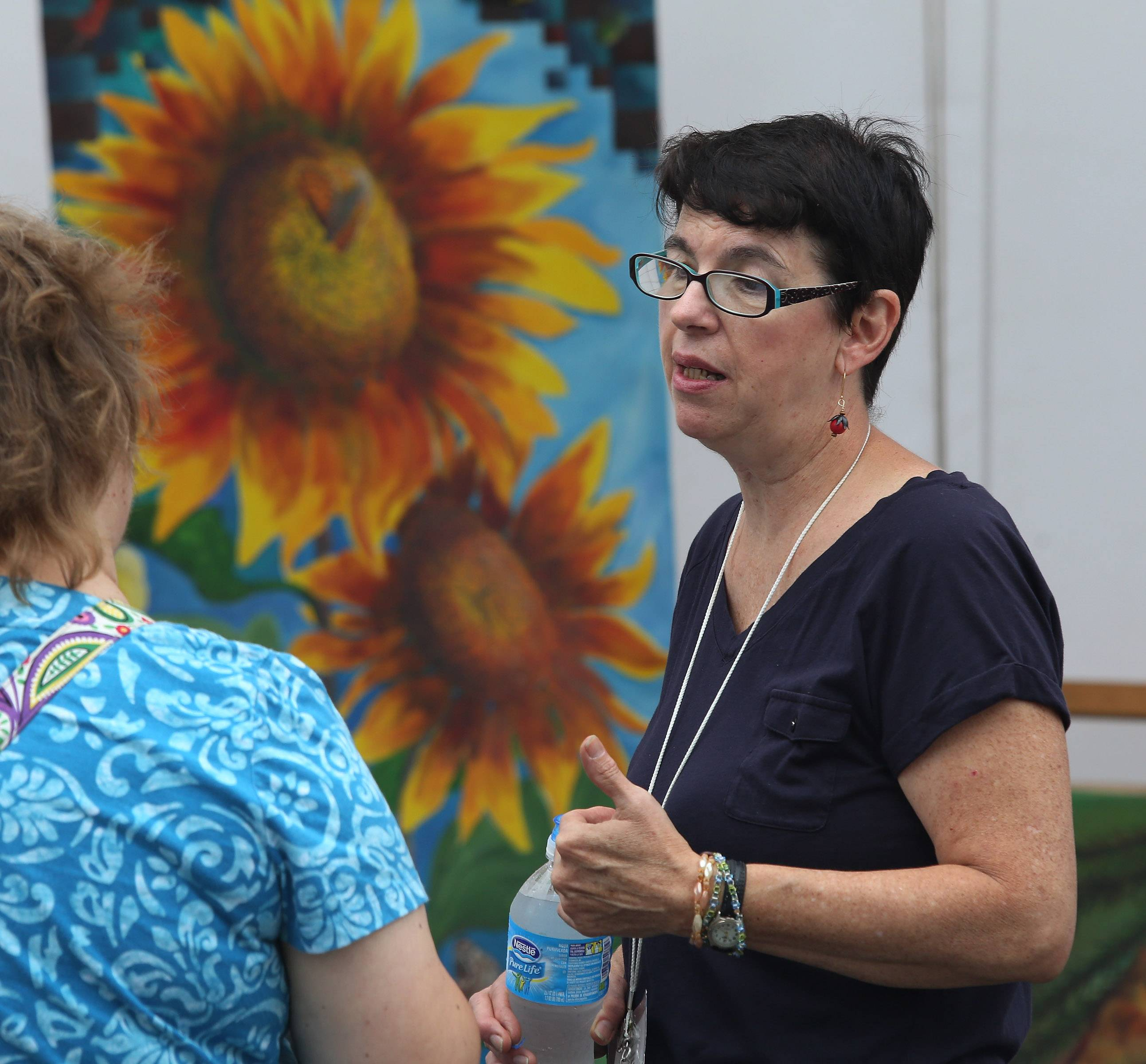 Mundelein artist MaryAnn Knapp talks about her work during the last year's Mundelein Arts Festival in Kracklauer Park. The festival features a variety of media as well as artwork from Mundelein and Carmel high schools and live music.