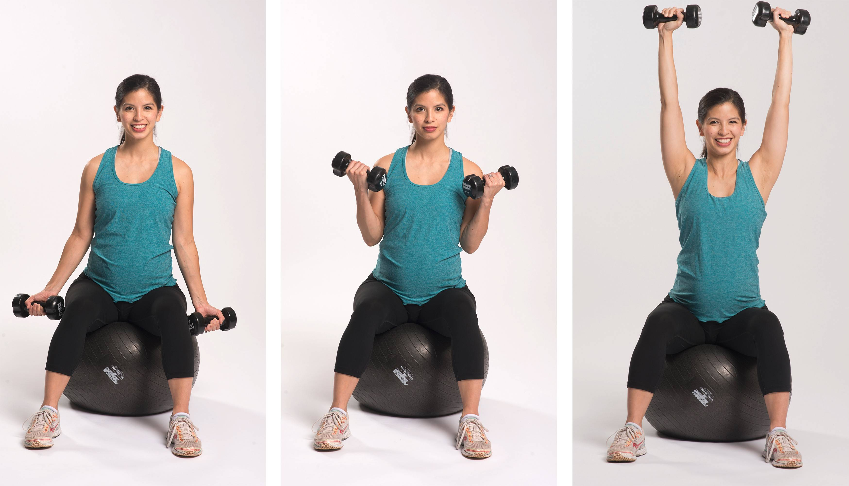 Another example of a pregnancy workout is arm curls while sitting on a stability ball: Keep palms facing forward, with eight- to 10-pound dumbbells in each hand. Lift the weight toward your shoulders, with the elbows tucked to the sides. Exhale as you bring the weights up on a count of three. Then bring the weights back down with the same count of three. Repeat for three rounds of 10 to 12 repetitions.