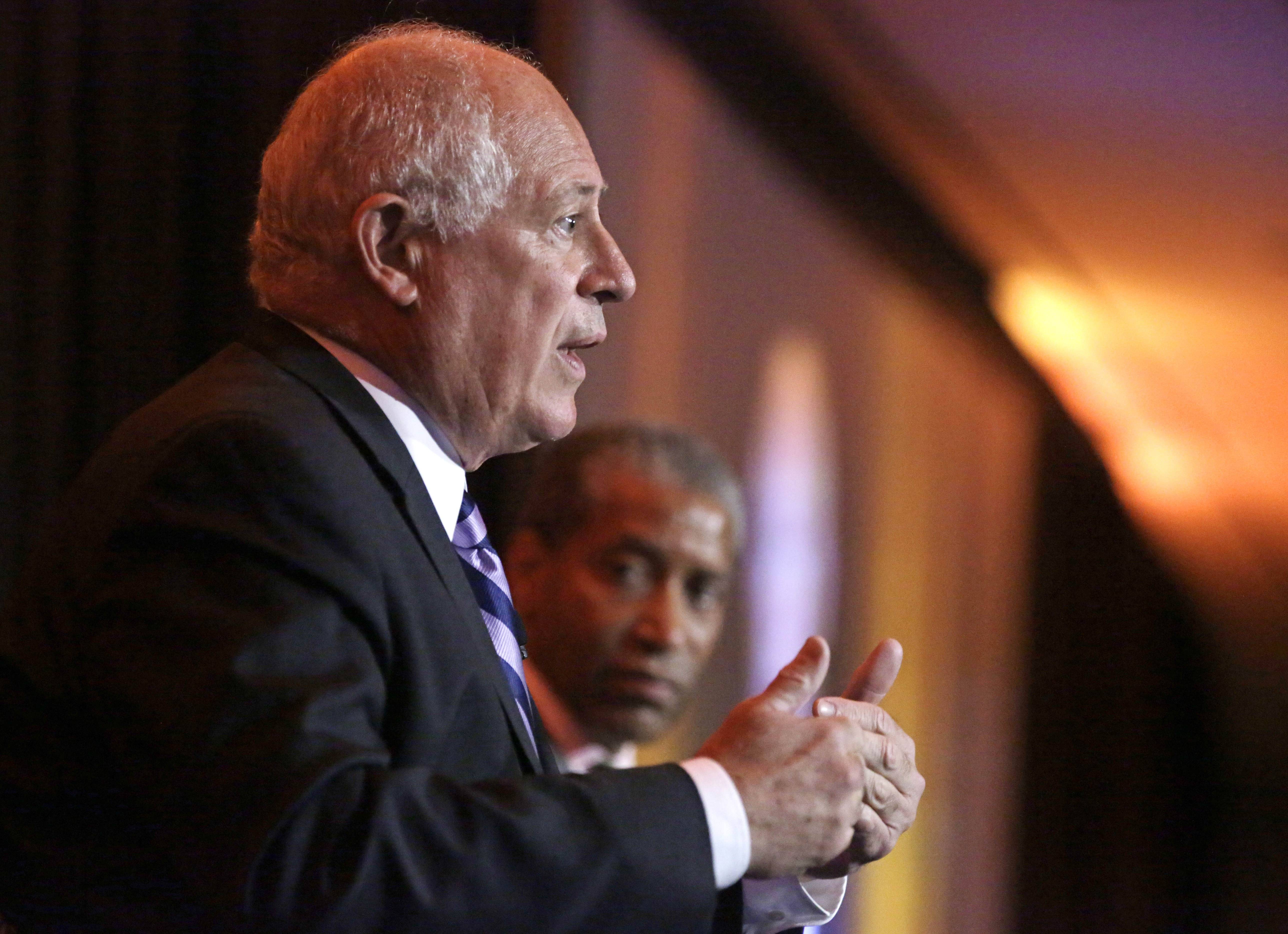 Illinois Gov. Pat Quinn answers questions during the Metropolitan Planning Council's Annual Luncheon Thursday, Aug. 28, in Chicago. Quinn and his opponent Republican gubernatorial candidate Bruce Rauner appeared separately before the group for 25 minute moderated Q&A sessions.