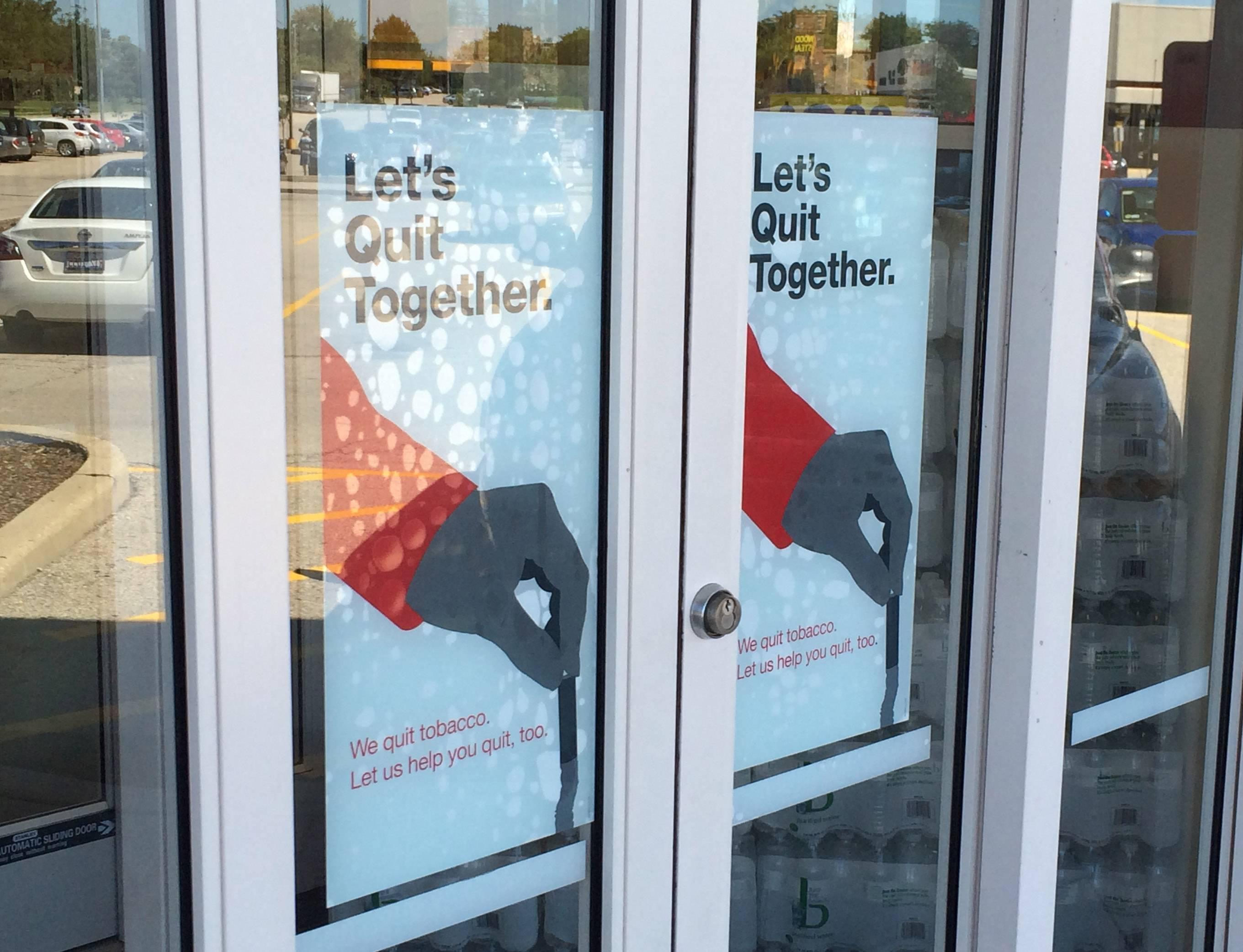 A CVS pharmacy in Mount Prospect prominently displays a smoking cessation promotion. The company said Wednesday it has ended sales of tobacco products and begun a stop-smoking campaign with the American Lung Association.