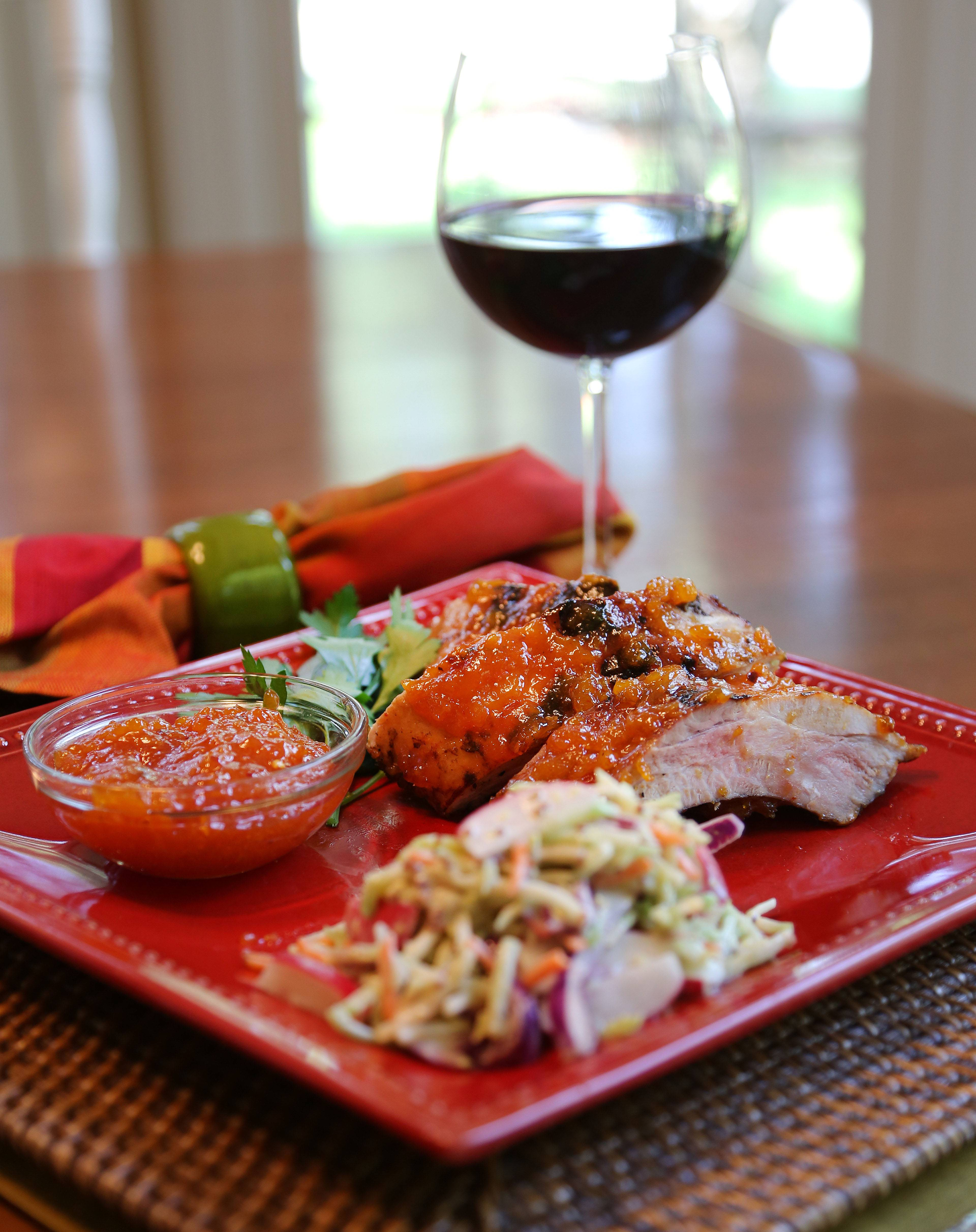 Pam Larson of Mundelein turned apricots and peach tea into a chutney for ribs and added radishes to a slaw to accompany the meat.