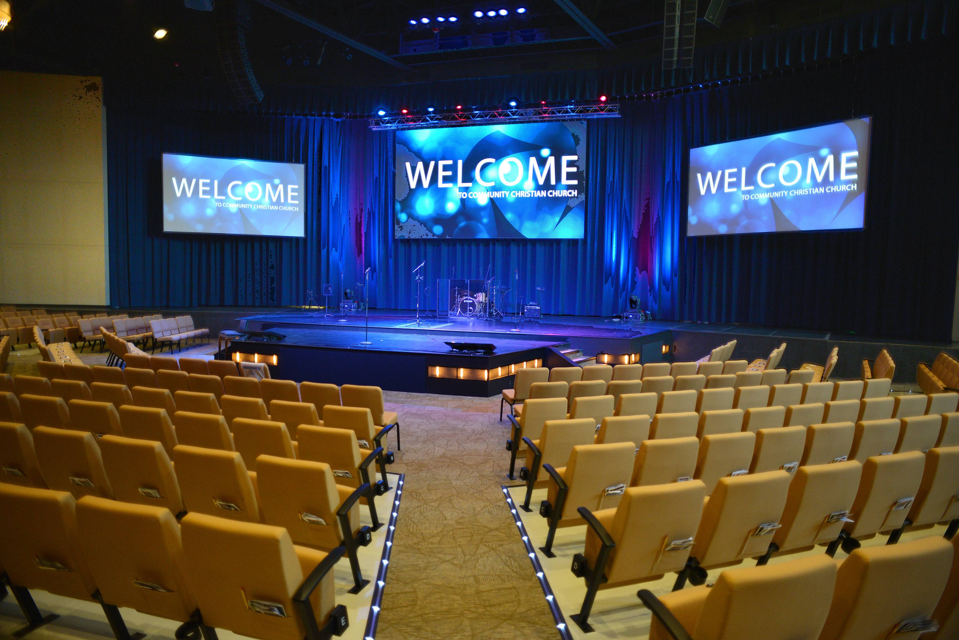 The new auditorium at Yellow Box Community Christian Church in Naperville can seat up to 1,200 people and will allow the church to expand its attendance during weekend services. The space also is available to host conventions and community gatherings.