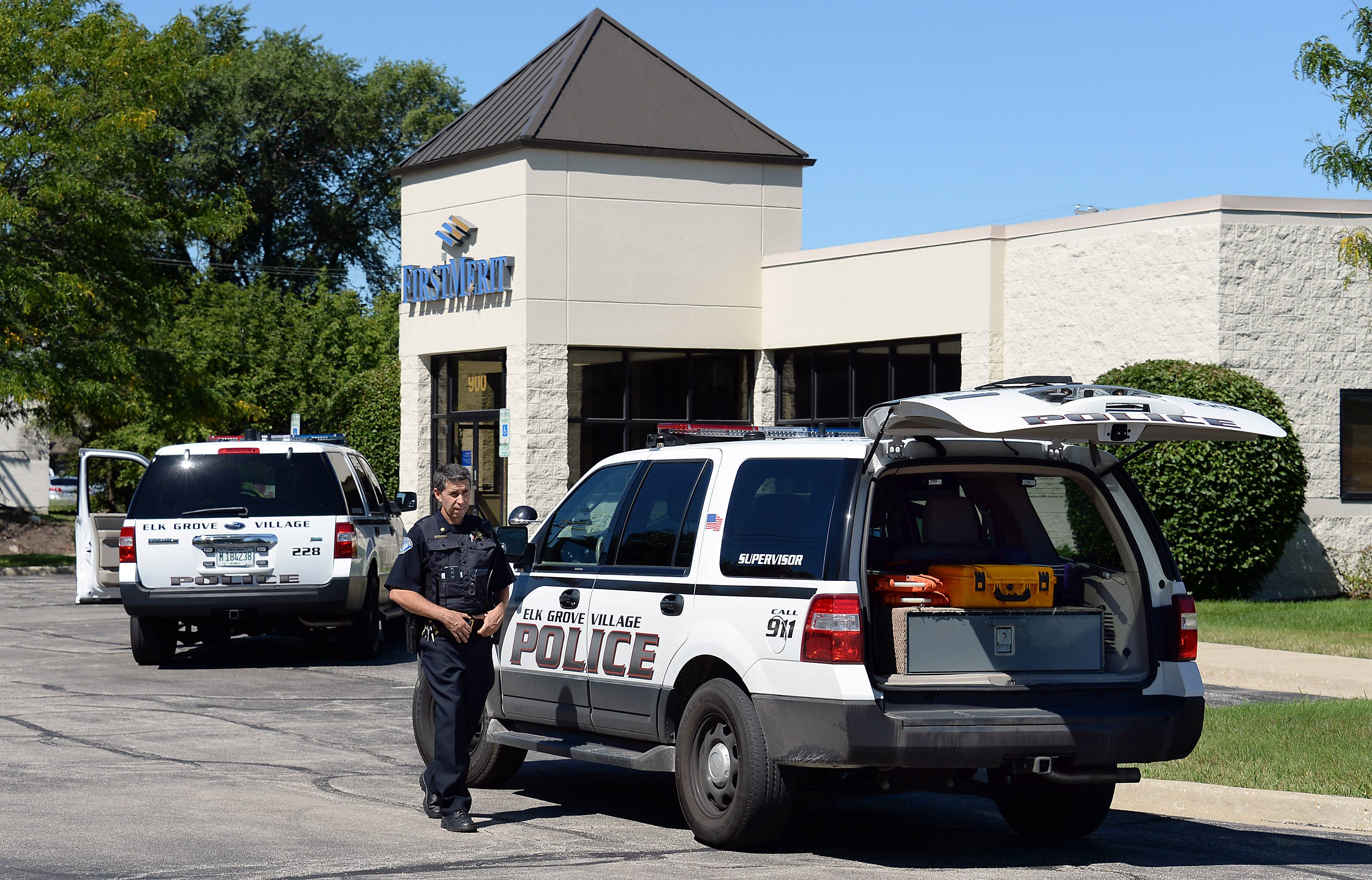 Elk Grove Village police responded to a bank robbery Wednesday morning at First Merit Bank on Higgins Road. FBI officials believe the robbery was committed by a man suspected in six other robberies since February 2013.