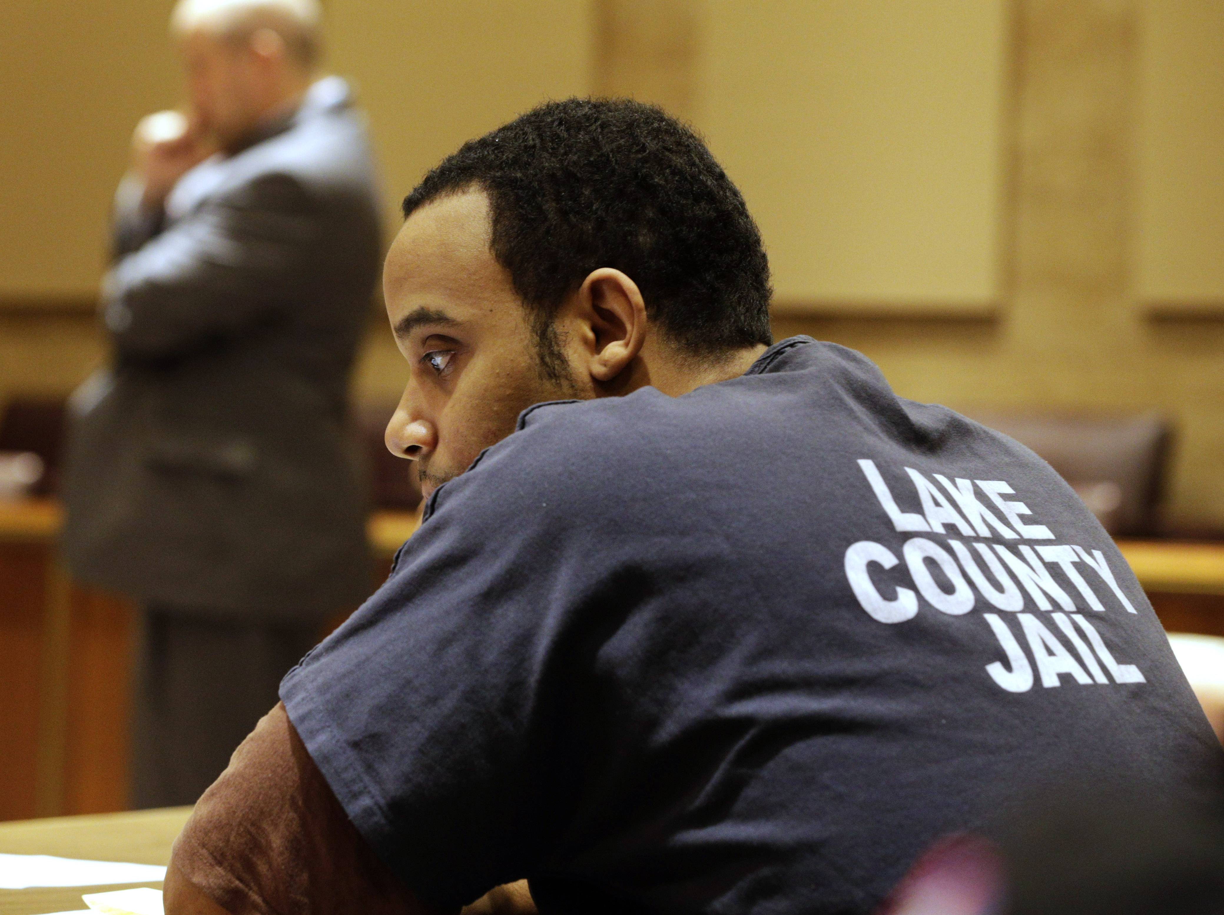 Demetries Thorpe, 27, attends his sentencing hearing at the Lake County Courthouse in Waukegan on Tuesday. Thorpe, who admitted to killing 5-month-old Joshua Summeries and then dumping his body into a garbage can, was sentenced to 30 years in prison.