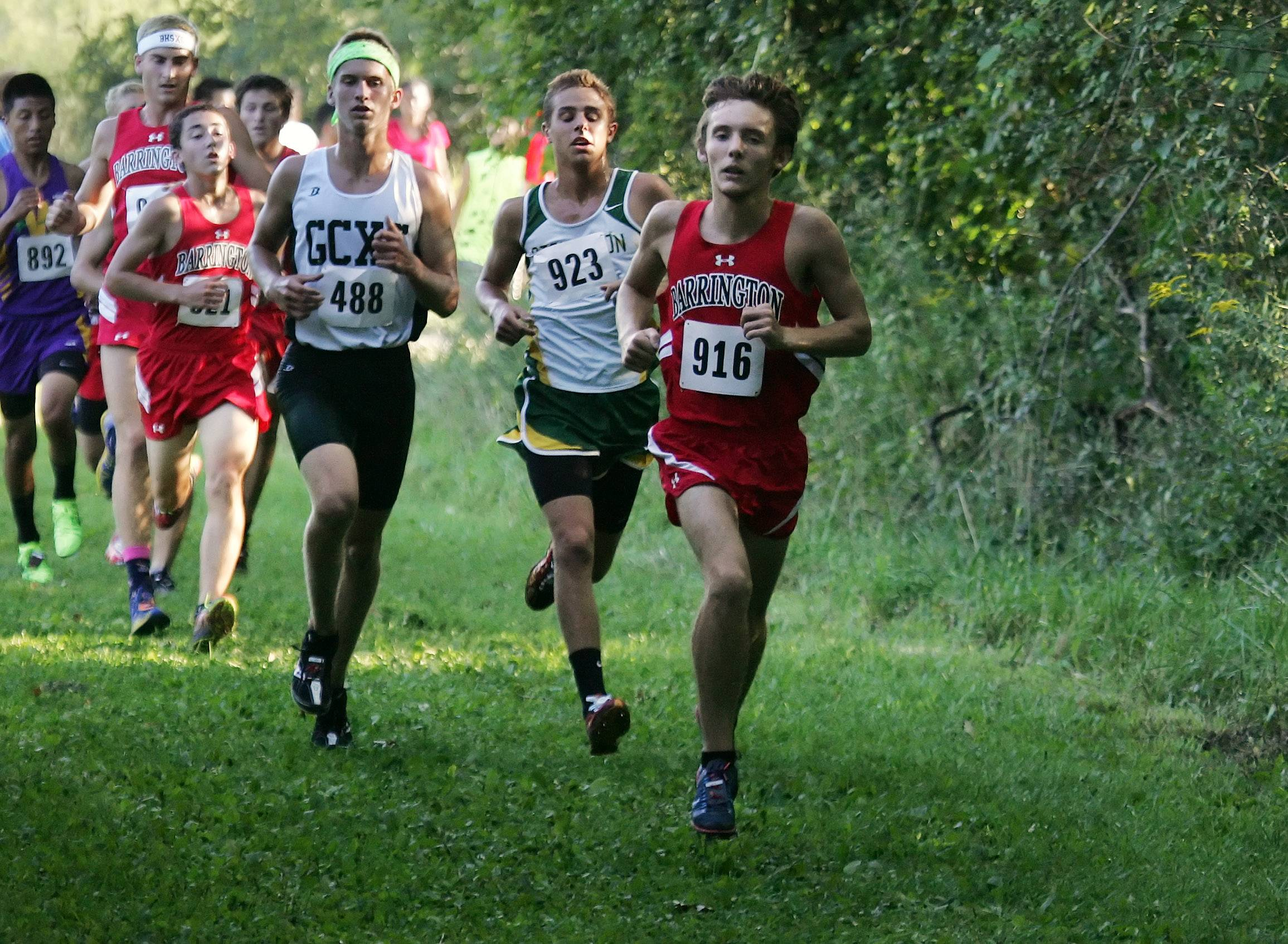 Kyle Monahan leads the Barrington pack during the Lake County/Art Campbell Invitational on Wednesday at Lakewood Forest Preserve near Wauconda.