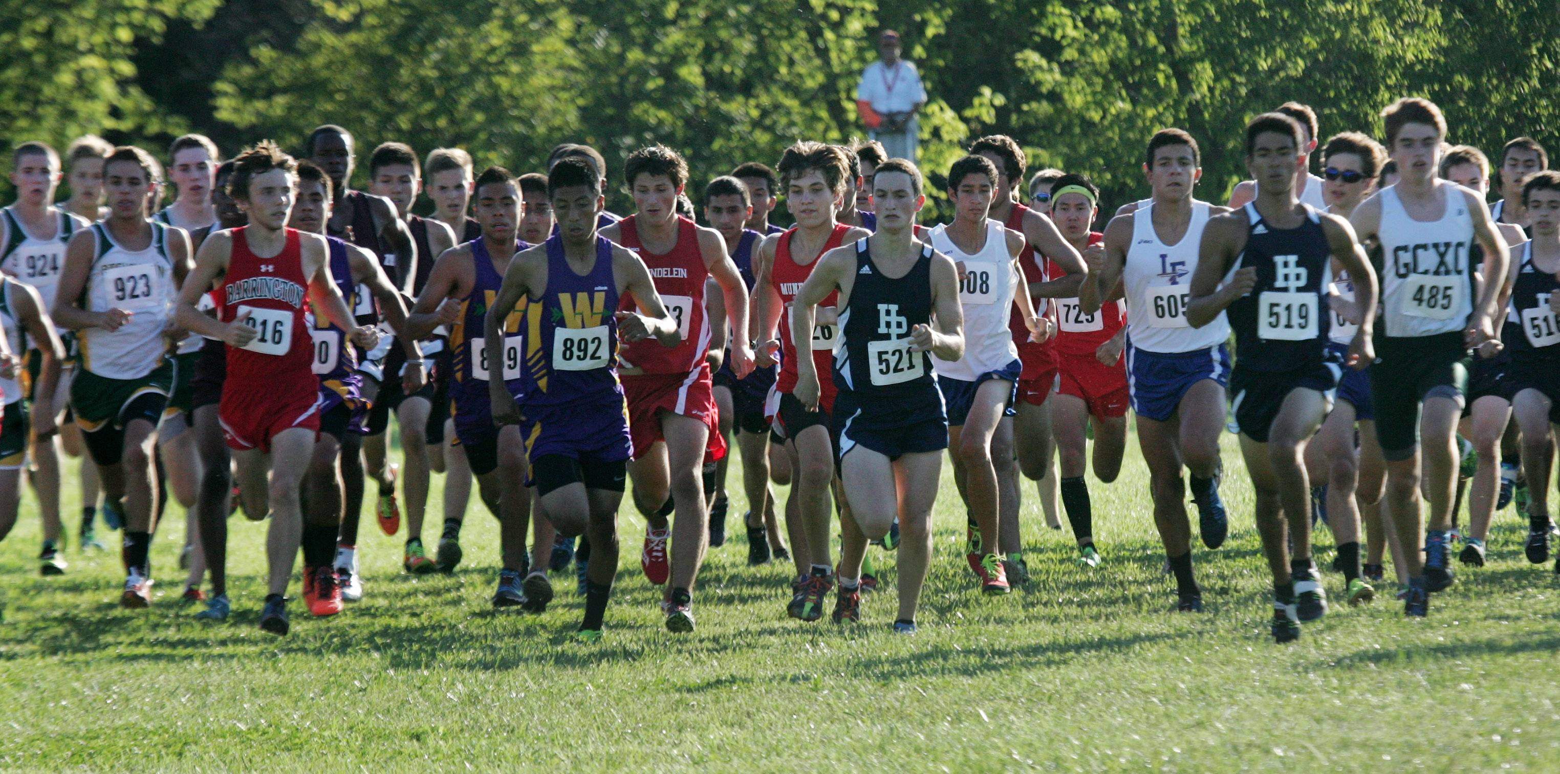 The start of the Lake County/Art Campbell Invitational on Wednesday at Lakewood Forest Preserve near Wauconda.