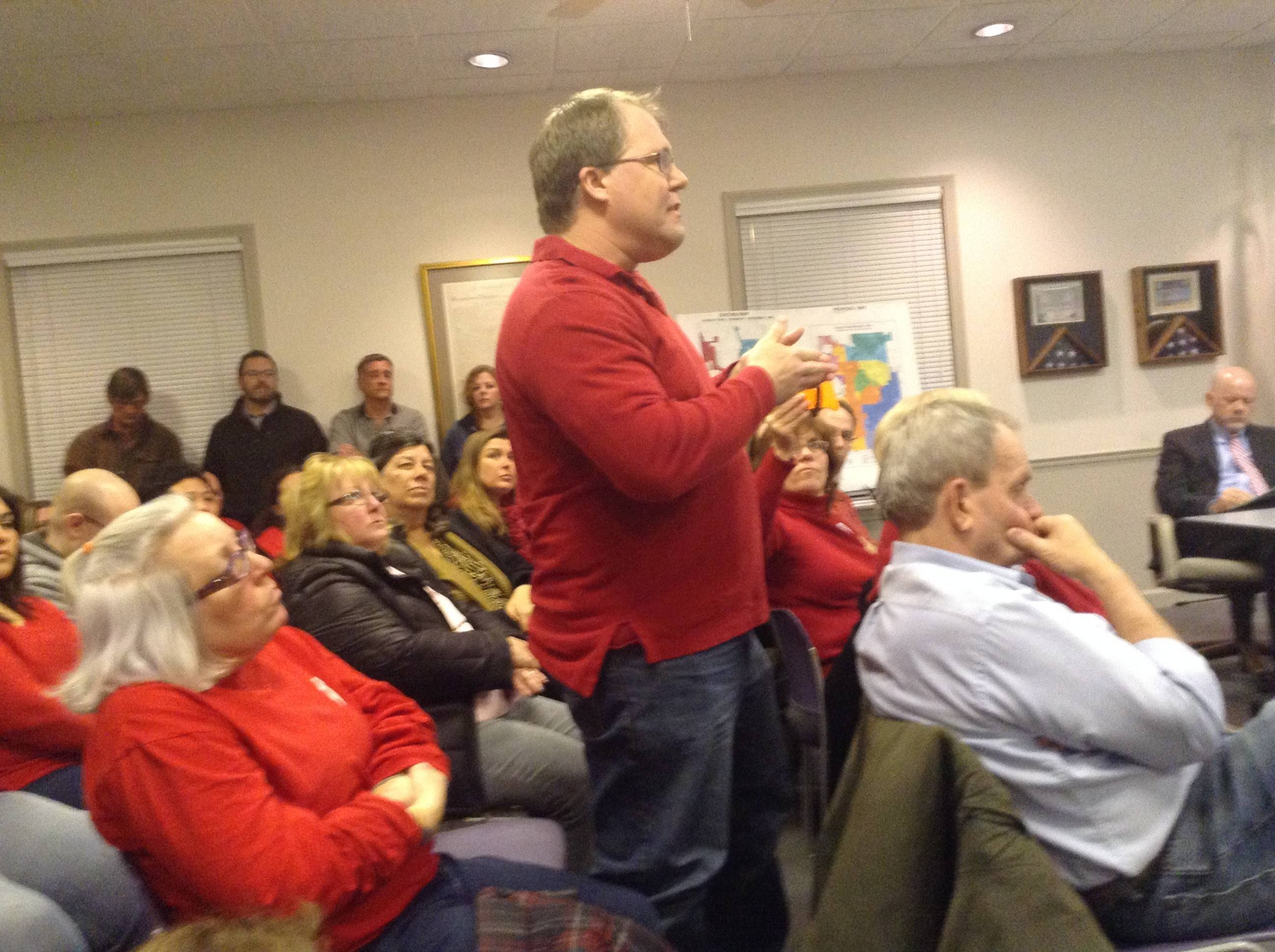 Wauconda resident Dirk Leahy talks to the village board in February. New rules for public comment have been proposed.