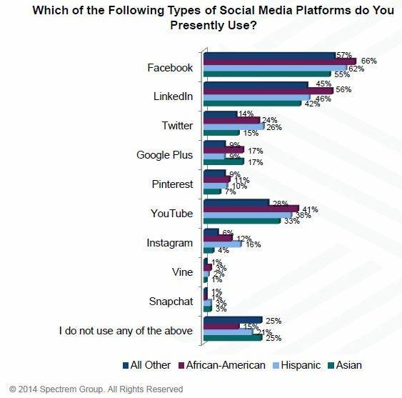 Lake Forest-based Spectrem Group talked with wealthy African-Americans, Asians and Hispanics to find out how they use new technology. Here's a look on what social media sites they prefer to use.